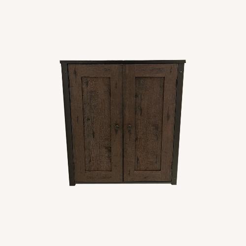 Used Sauder Coffee Oak Storage Cabinet for sale on AptDeco
