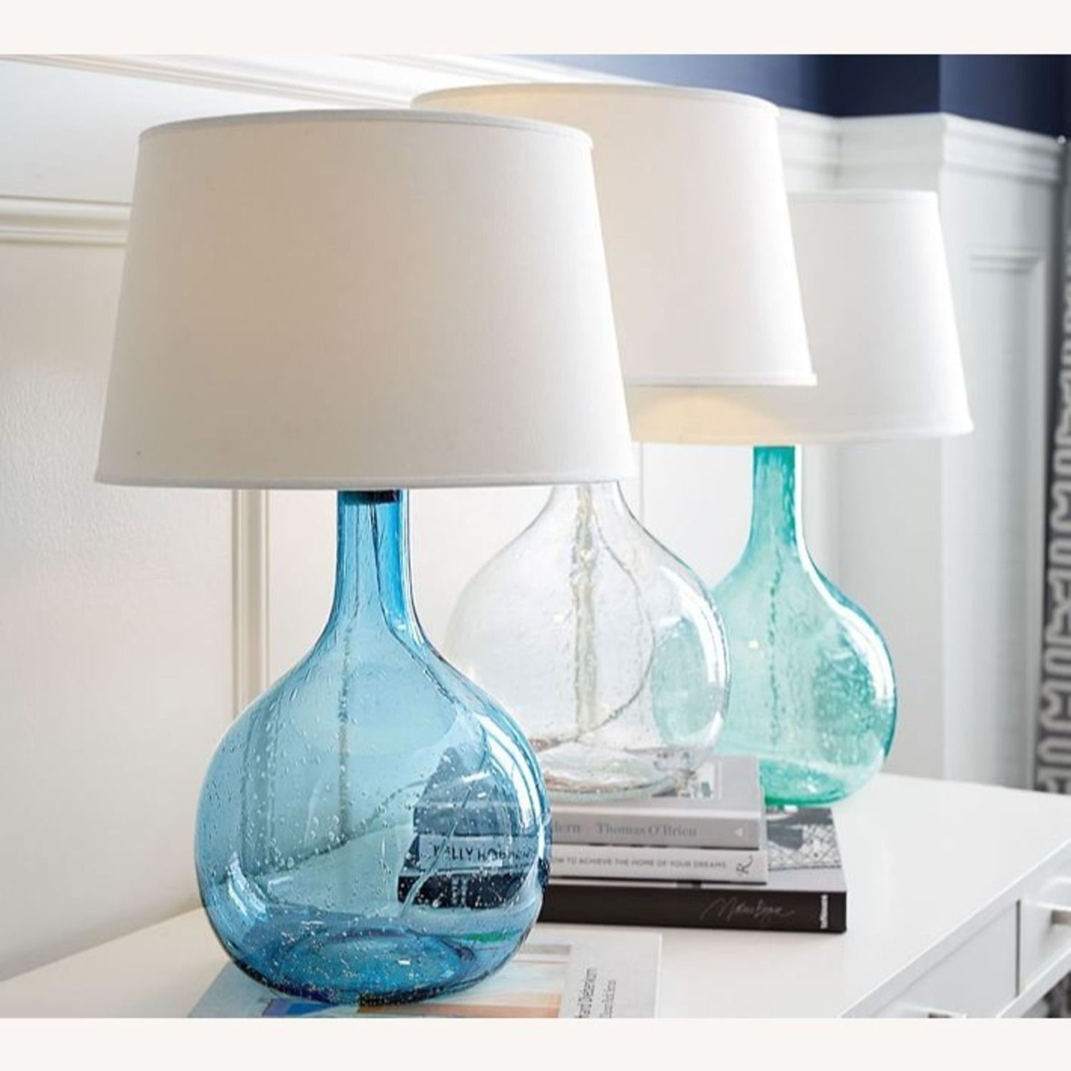 Pottery Barn Eva Colored Glass Table Lamps (blue) - image-2