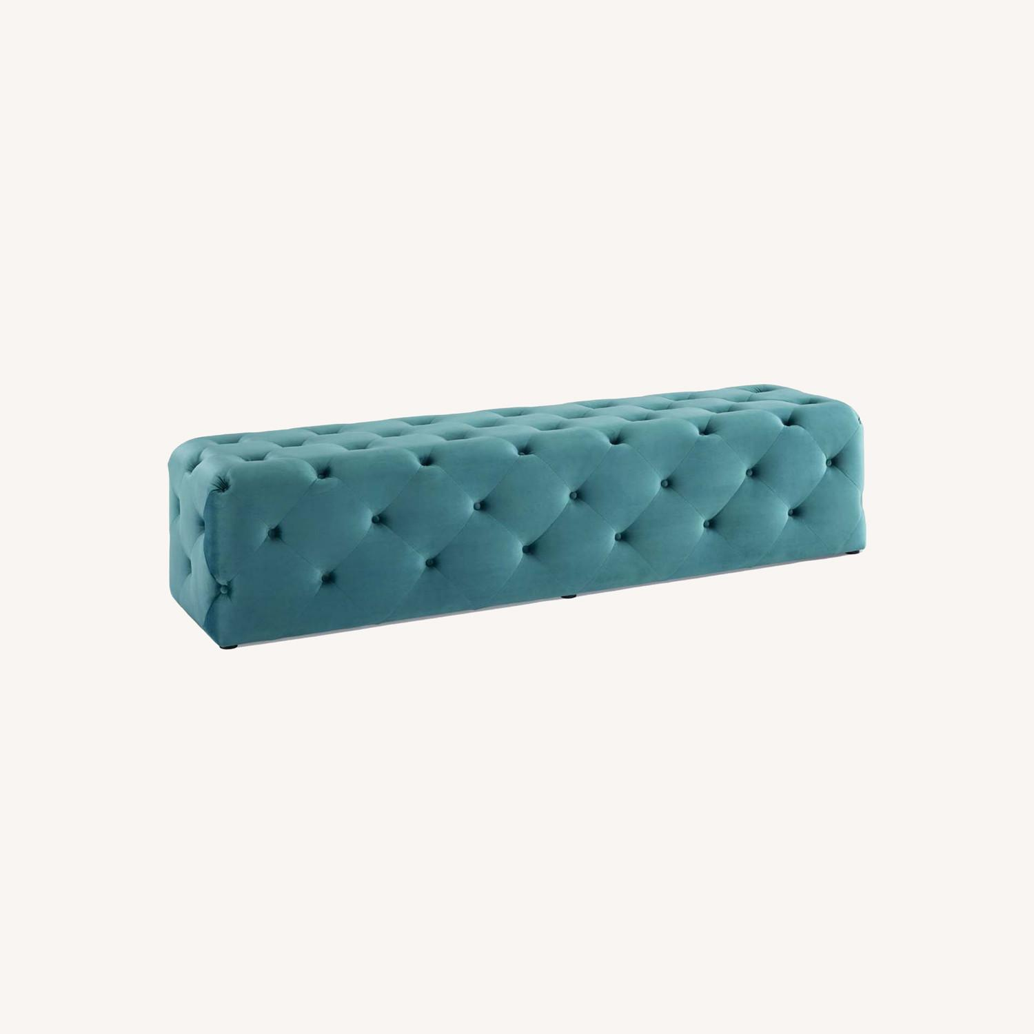 """72"""" Bench In Sea Blue Button Tufted Velvet Fabric - image-8"""