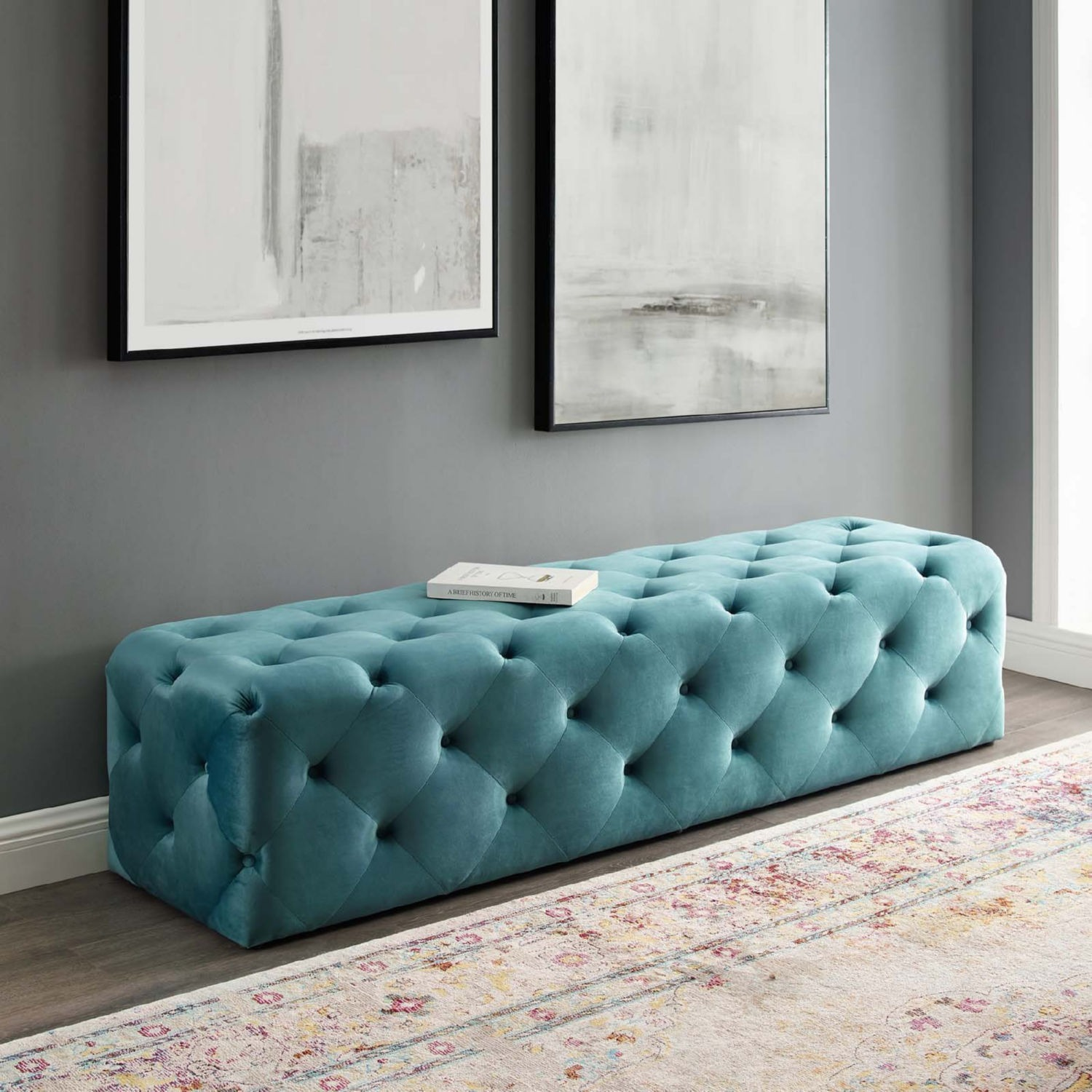 """72"""" Bench In Sea Blue Button Tufted Velvet Fabric - image-6"""