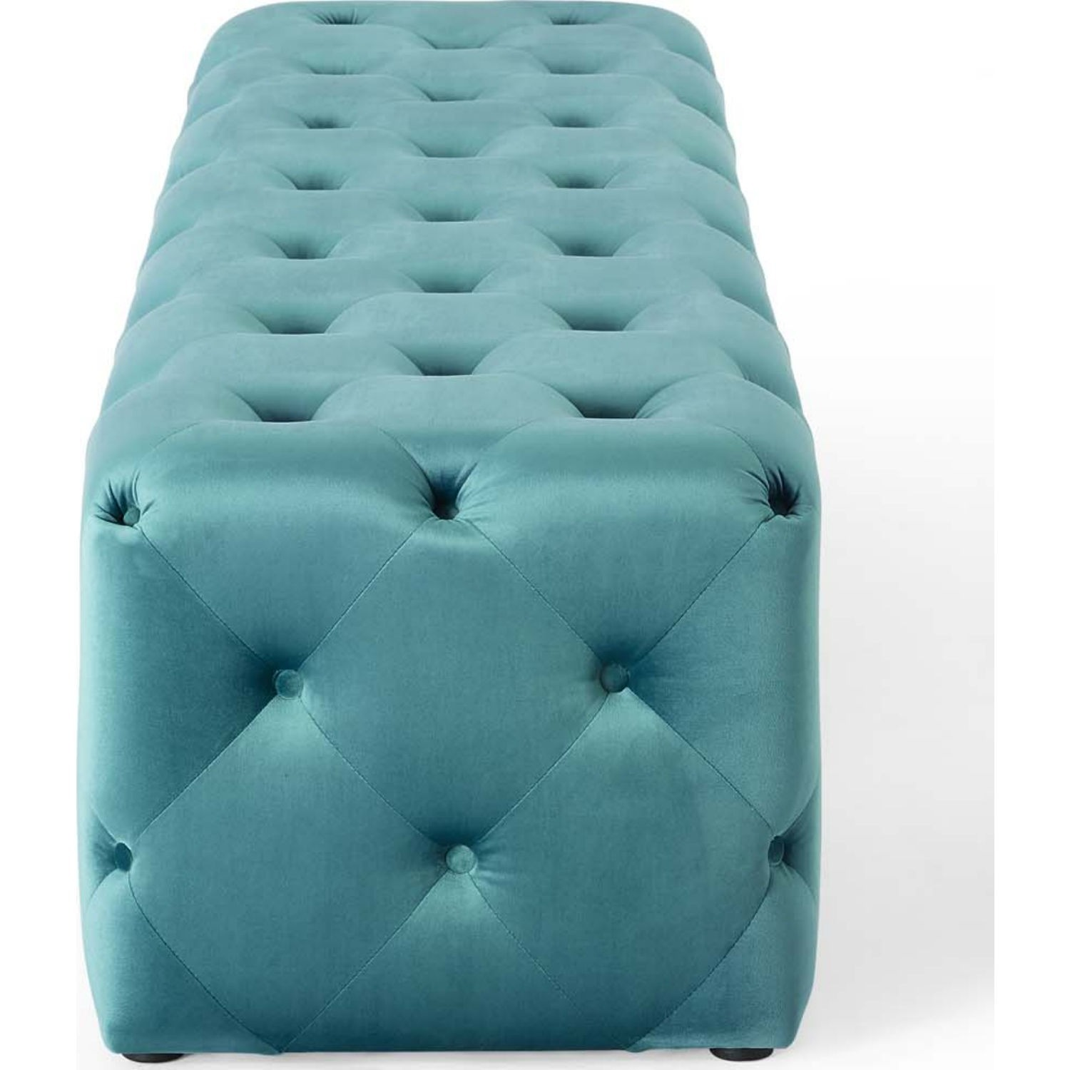"""72"""" Bench In Sea Blue Button Tufted Velvet Fabric - image-3"""