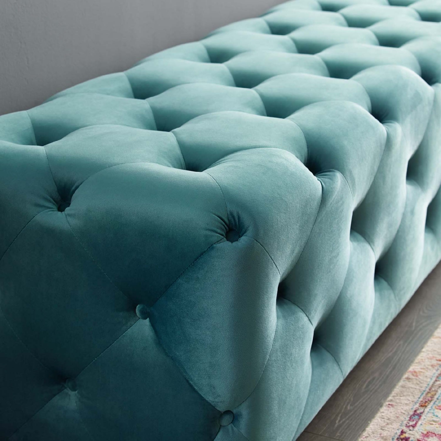 """72"""" Bench In Sea Blue Button Tufted Velvet Fabric - image-5"""