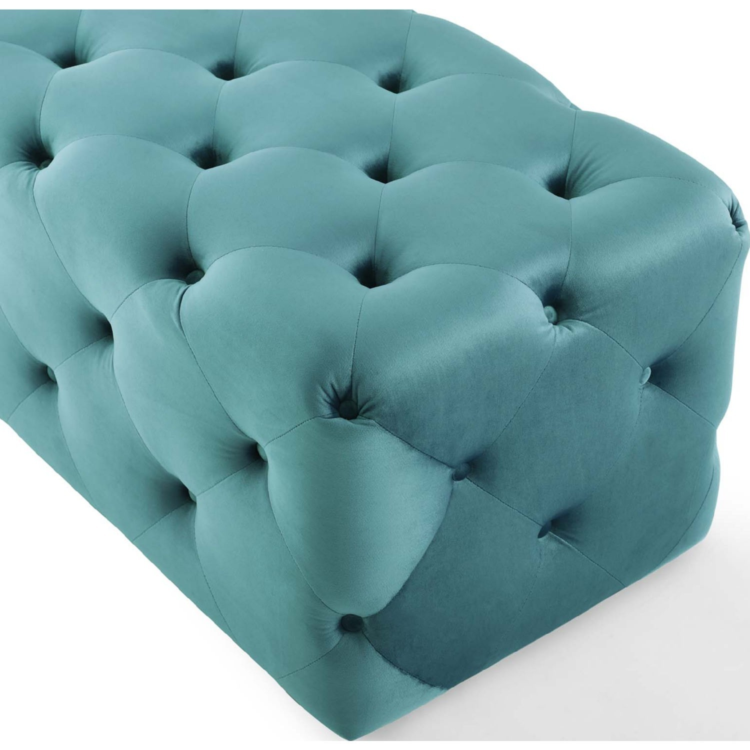 """72"""" Bench In Sea Blue Button Tufted Velvet Fabric - image-4"""