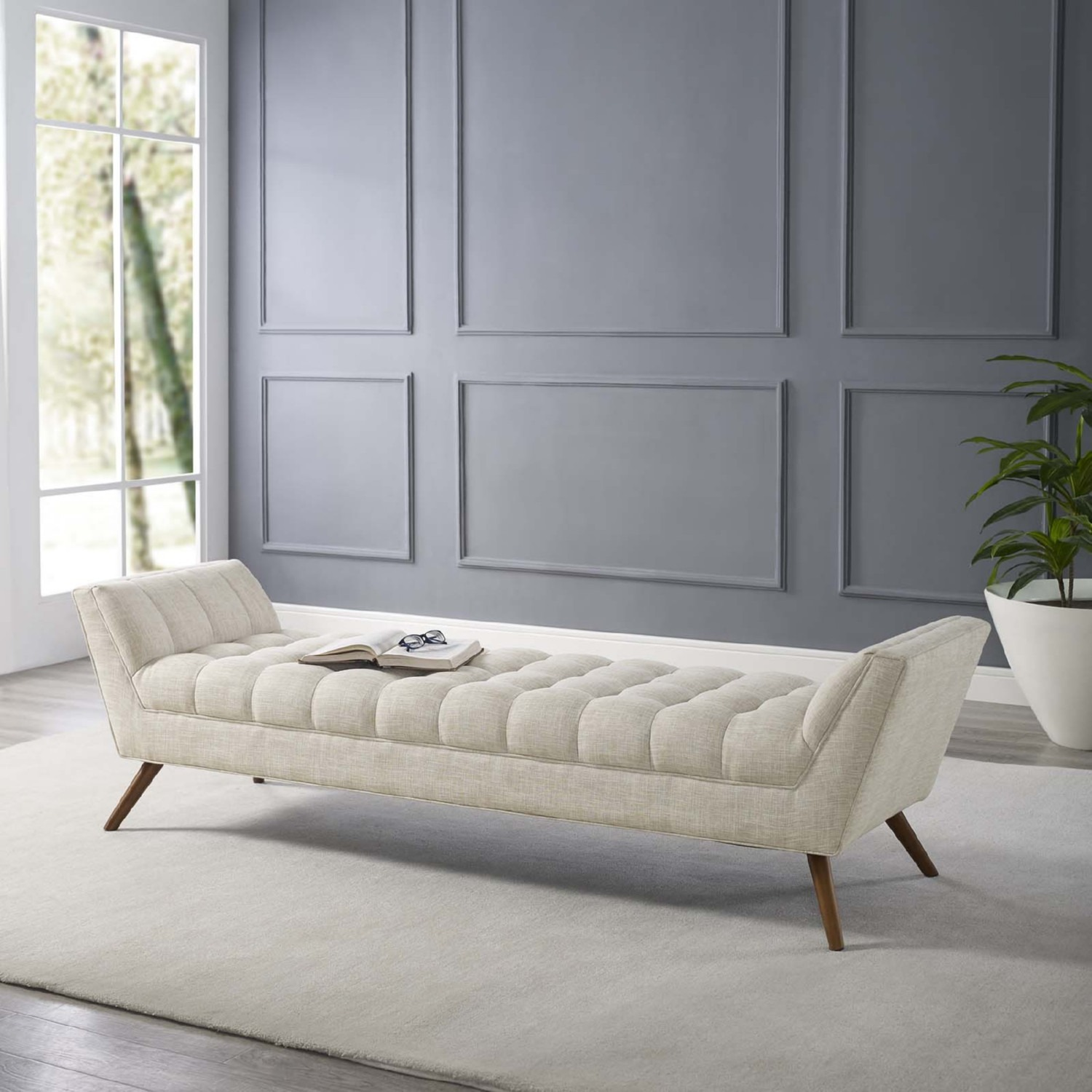 Bench In Beige Fabric Upholstery W/ Wood Legs - image-5