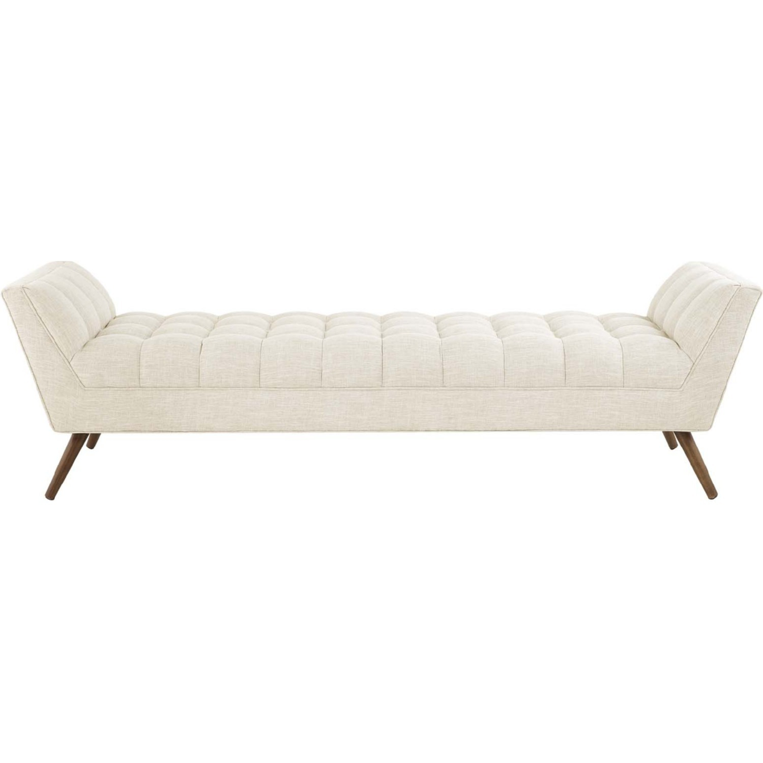 Bench In Beige Fabric Upholstery W/ Wood Legs - image-1