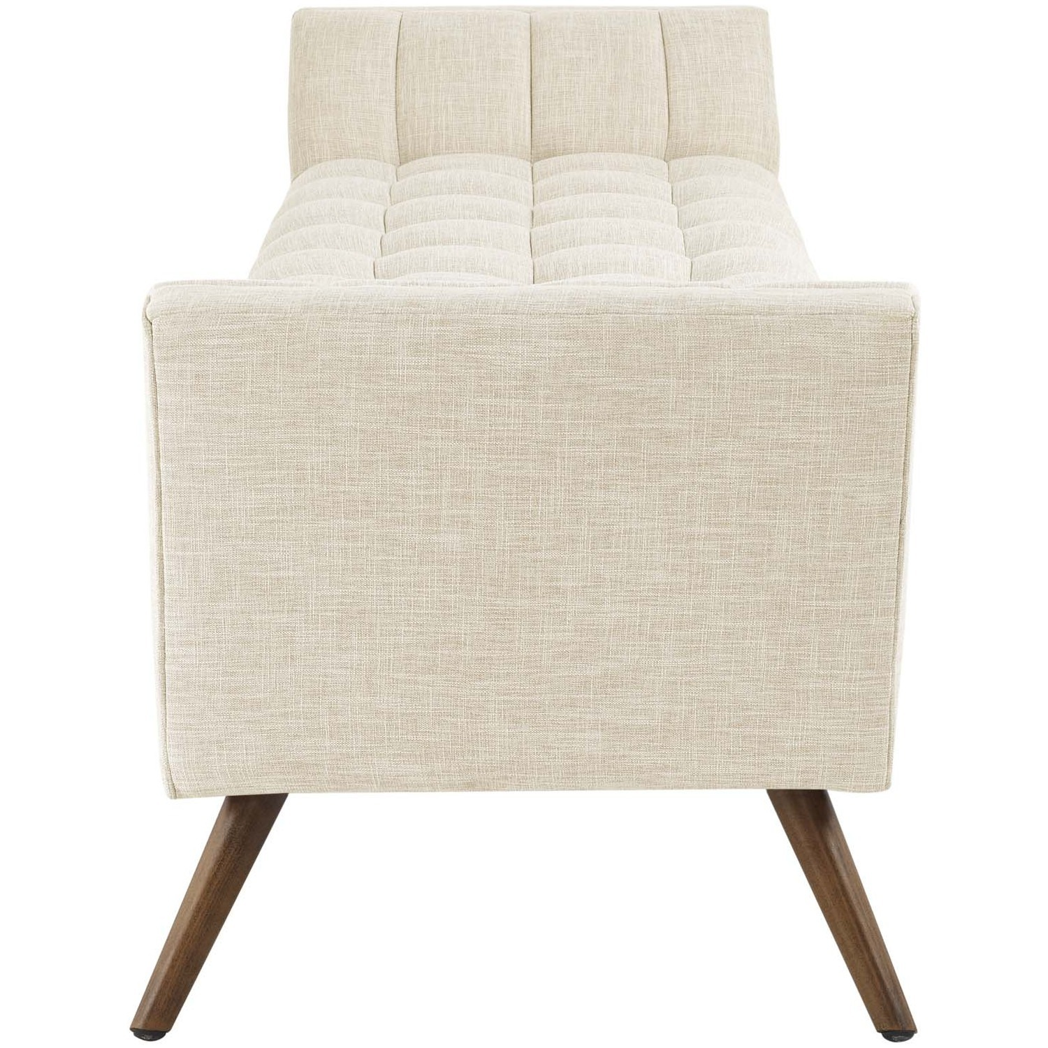 Bench In Beige Fabric Upholstery W/ Wood Legs - image-3