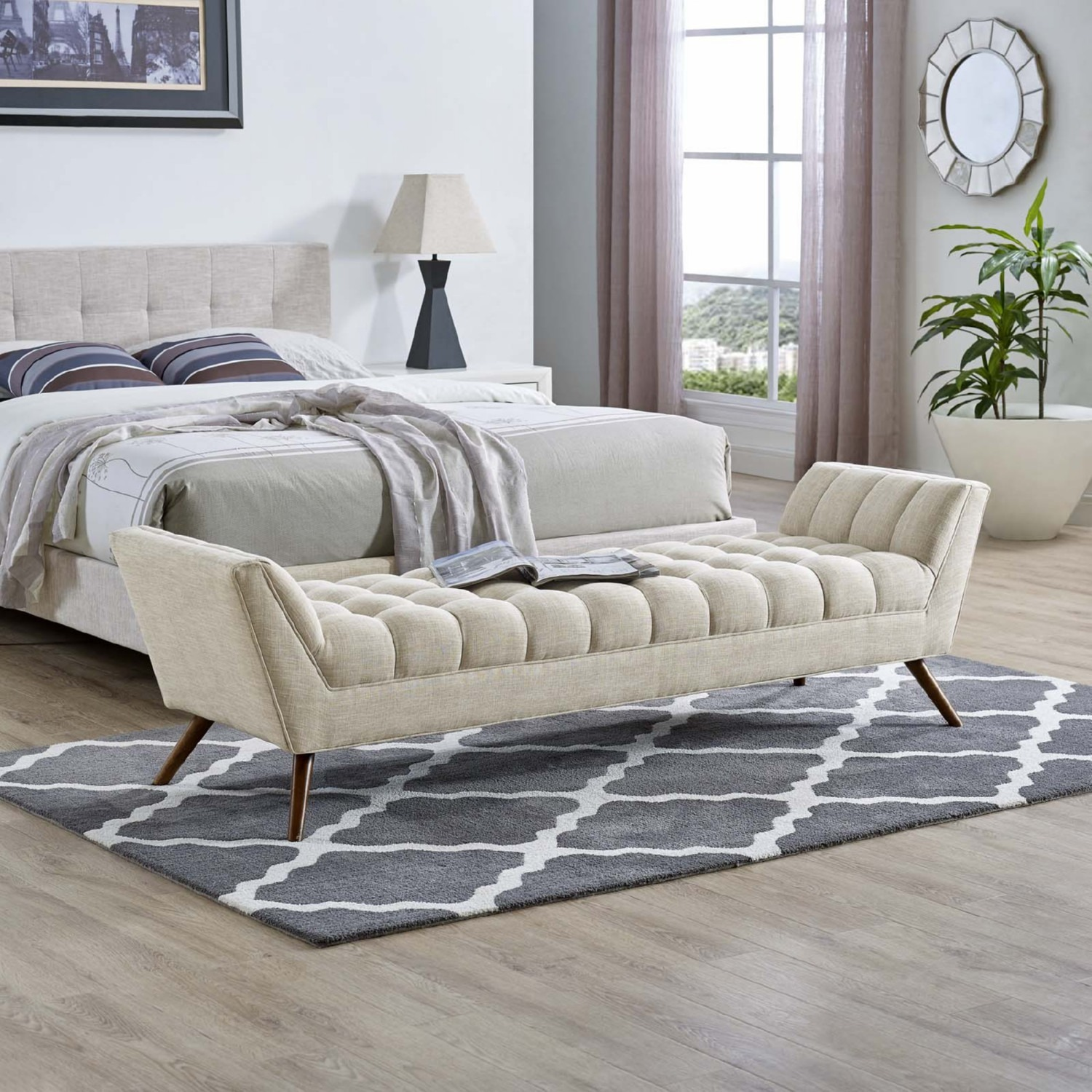 Bench In Beige Fabric Upholstery W/ Wood Legs - image-4