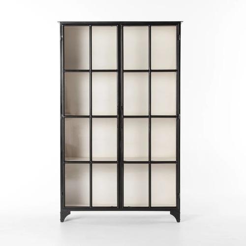 Used Burke Decor Black Metal Display Cabinet for sale on AptDeco