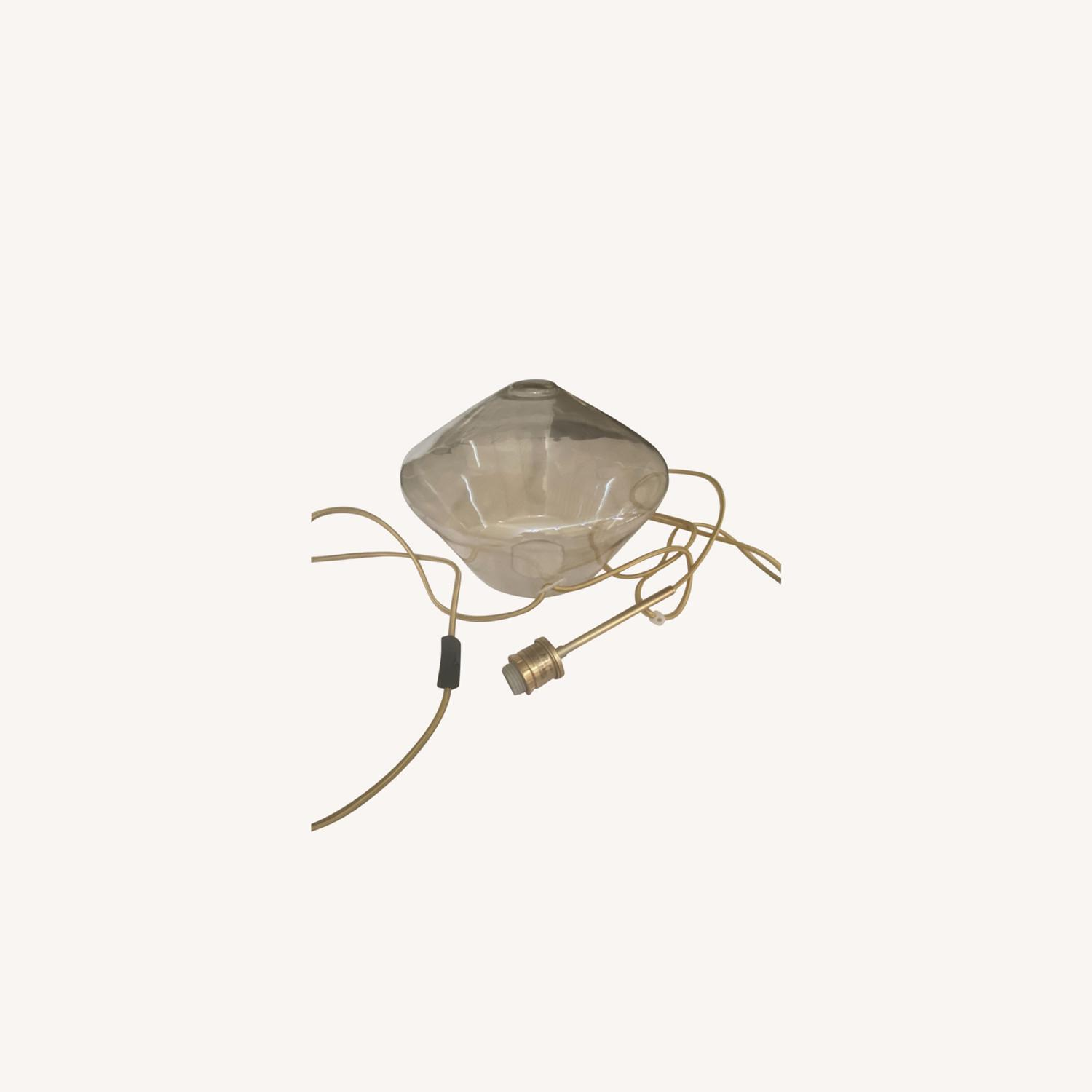 West Elm Champagne Gold Plug-In Ceiling Pendant - image-0