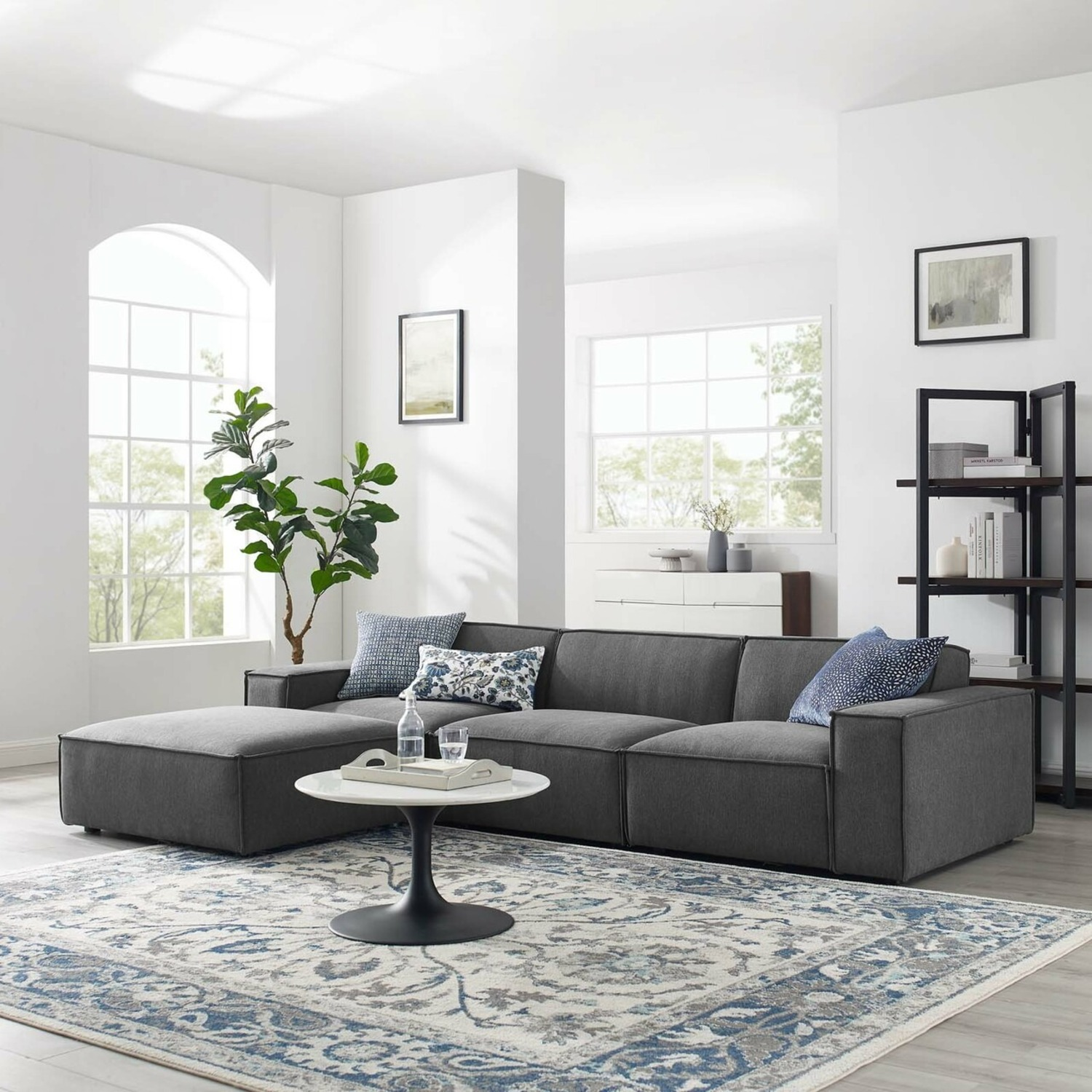 4-Piece Sectional Sofa In Charcoal Fabric Finish - image-10
