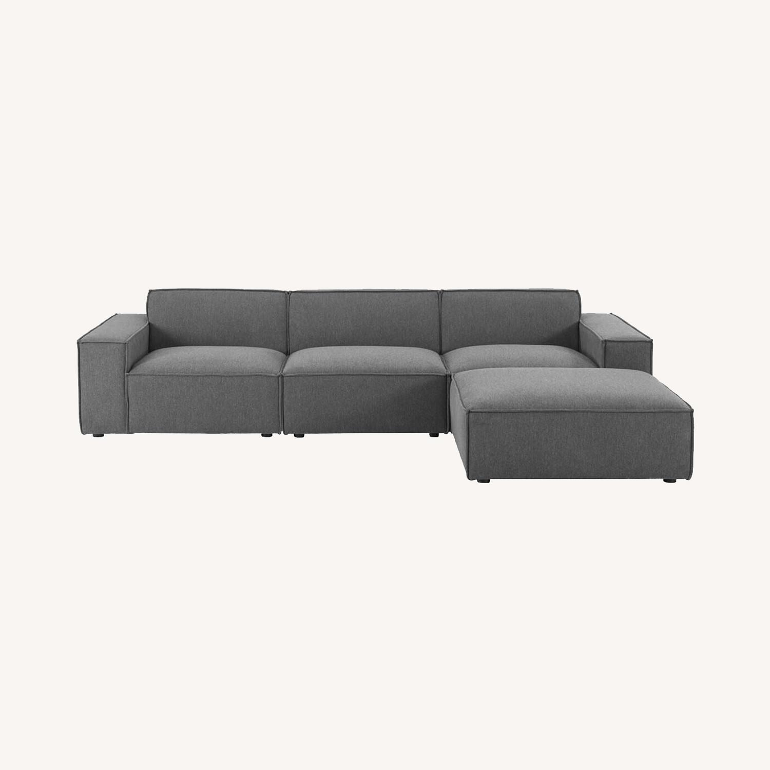 4-Piece Sectional Sofa In Charcoal Fabric Finish - image-12