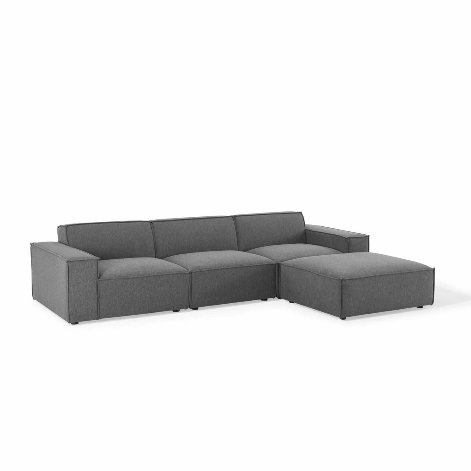 4-Piece Sectional Sofa In Charcoal Fabric Finish - image-0