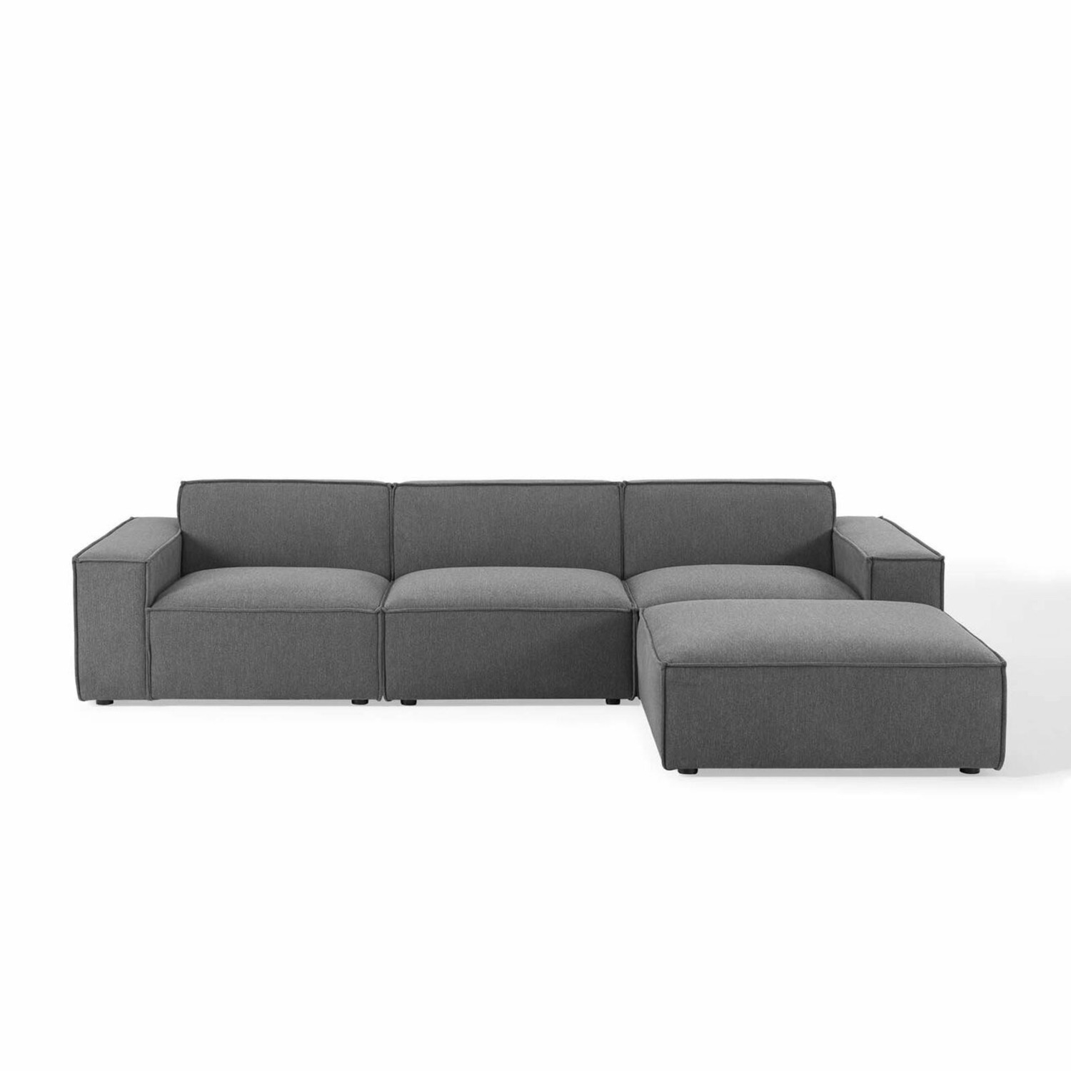 4-Piece Sectional Sofa In Charcoal Fabric Finish - image-1