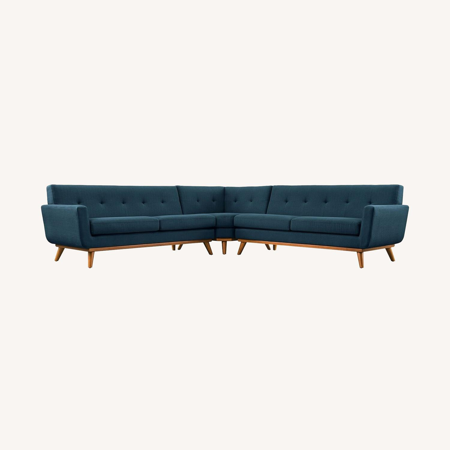 3-Piece L-Shaped Sectional In Azure Upholstery - image-7