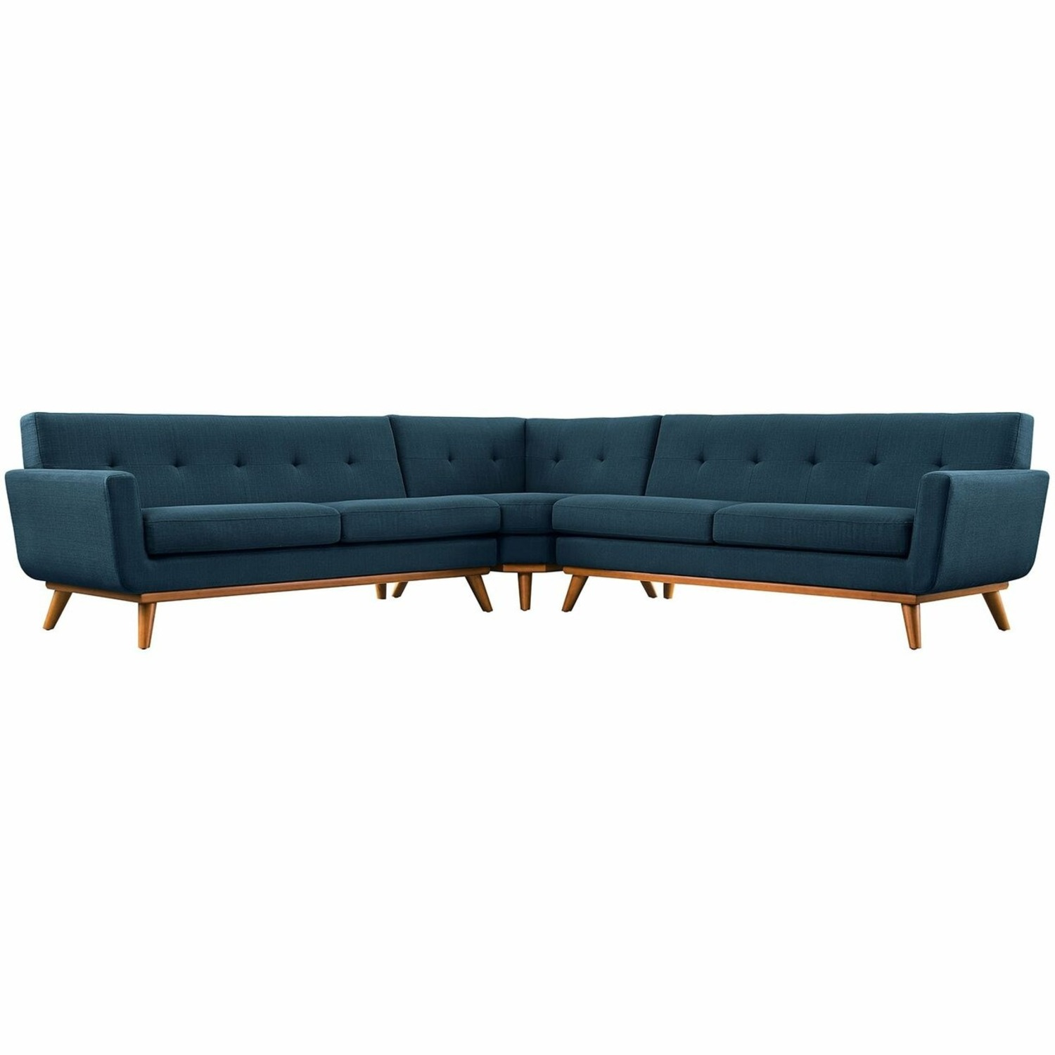 3-Piece L-Shaped Sectional In Azure Upholstery - image-0