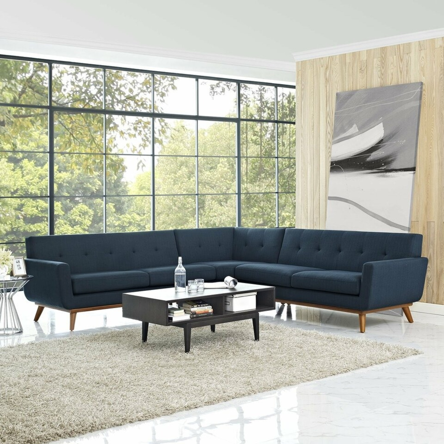 3-Piece L-Shaped Sectional In Azure Upholstery - image-6