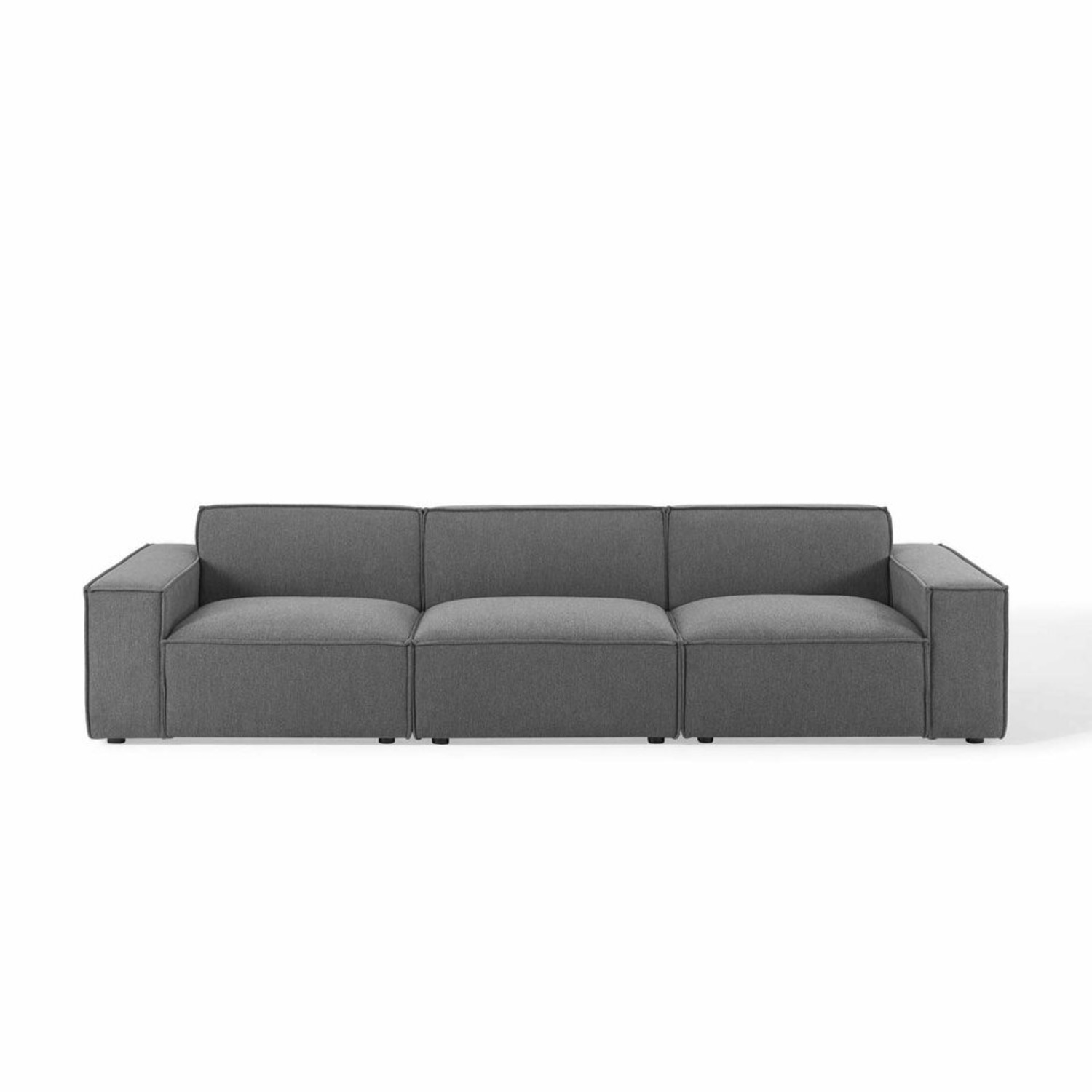 3-Piece Sectional Sofa In Charcoal Upholstery - image-1