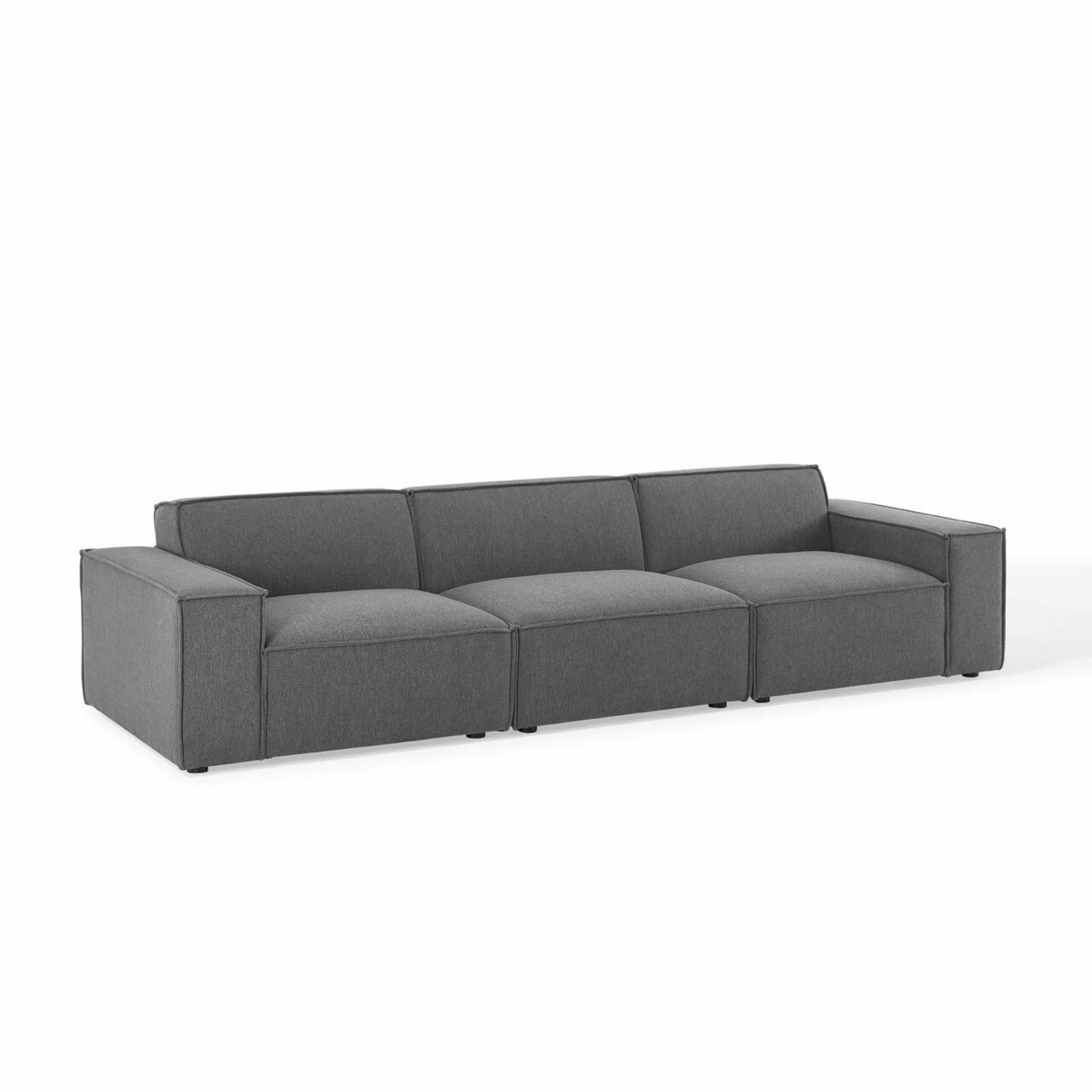 3-Piece Sectional Sofa In Charcoal Upholstery - image-0