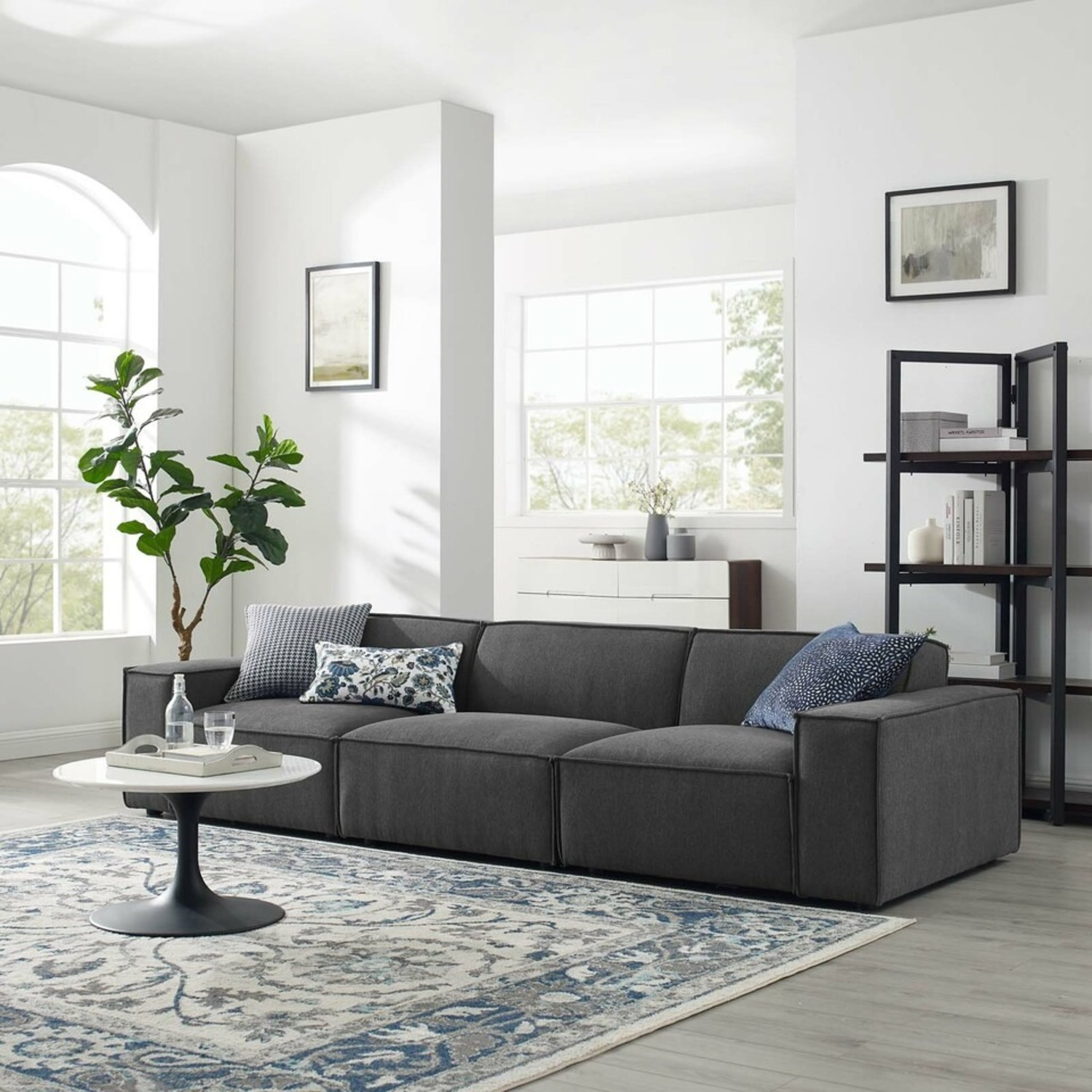 3-Piece Sectional Sofa In Charcoal Upholstery - image-11