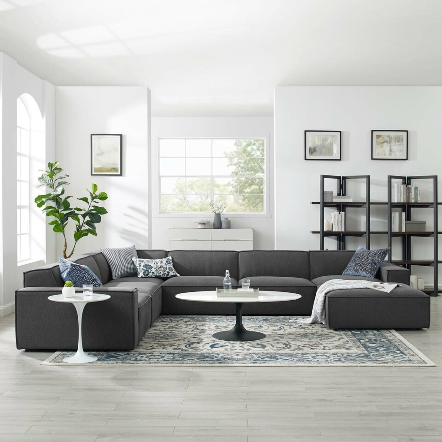 7-Piece Sectional Sofa In Charcoal Upholstery - image-12
