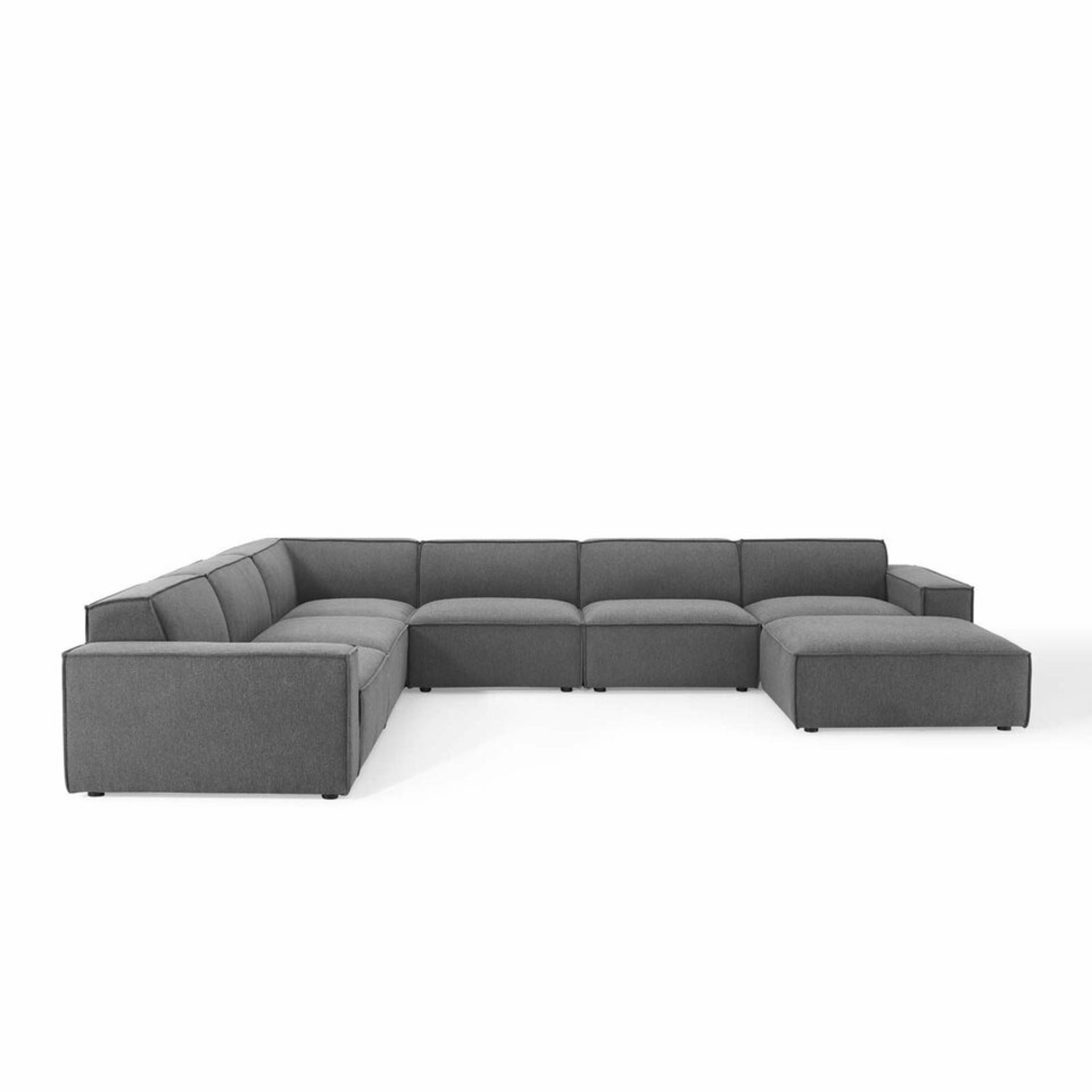 7-Piece Sectional Sofa In Charcoal Upholstery - image-0
