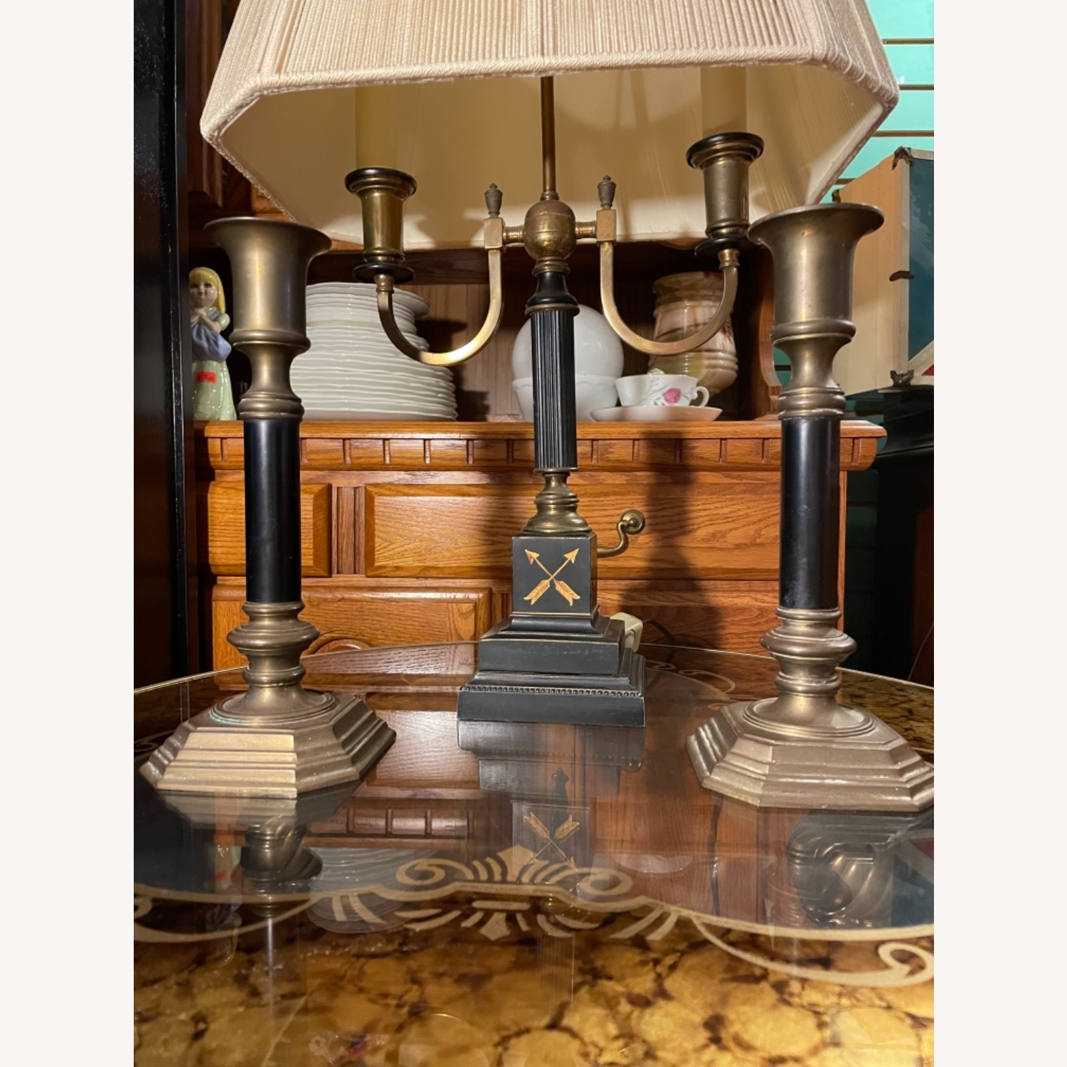 Antique 1930s Set of Brass Candle Sticks & Lamp - image-2
