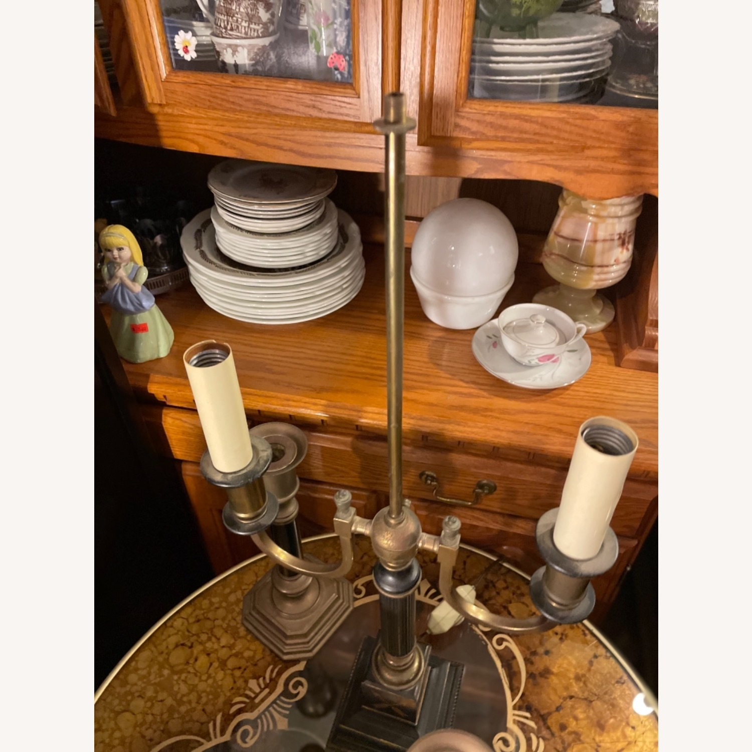 Antique 1930s Set of Brass Candle Sticks & Lamp - image-21