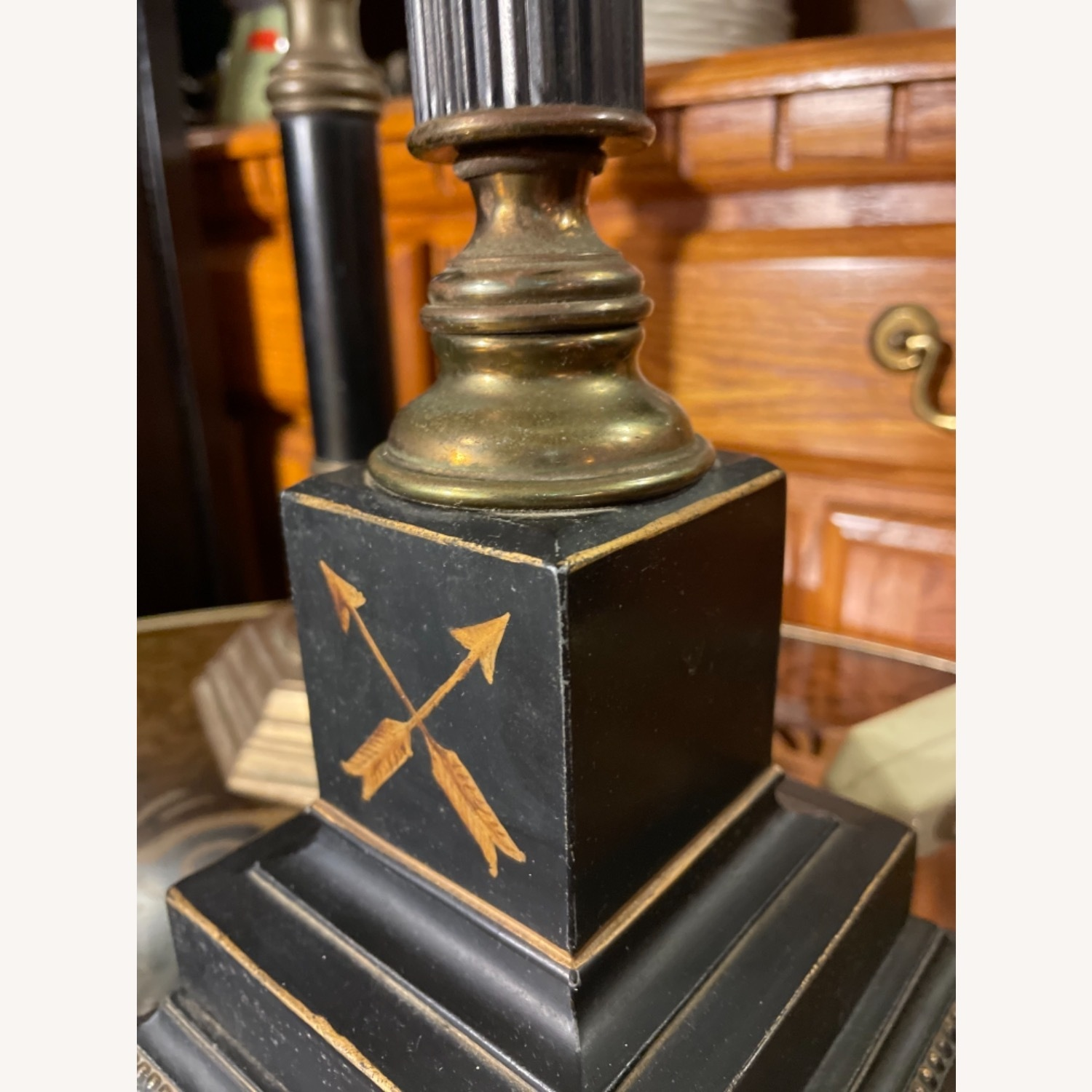Antique 1930s Set of Brass Candle Sticks & Lamp - image-12