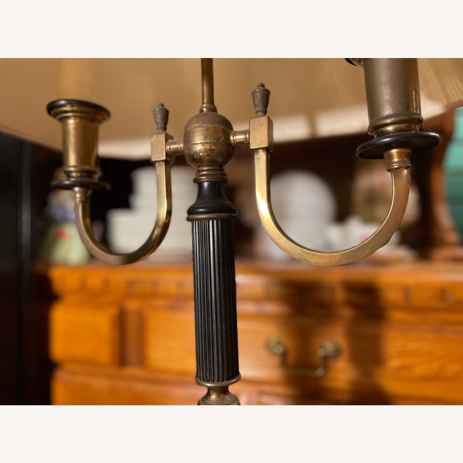 Antique 1930s Set of Brass Candle Sticks & Lamp - image-9