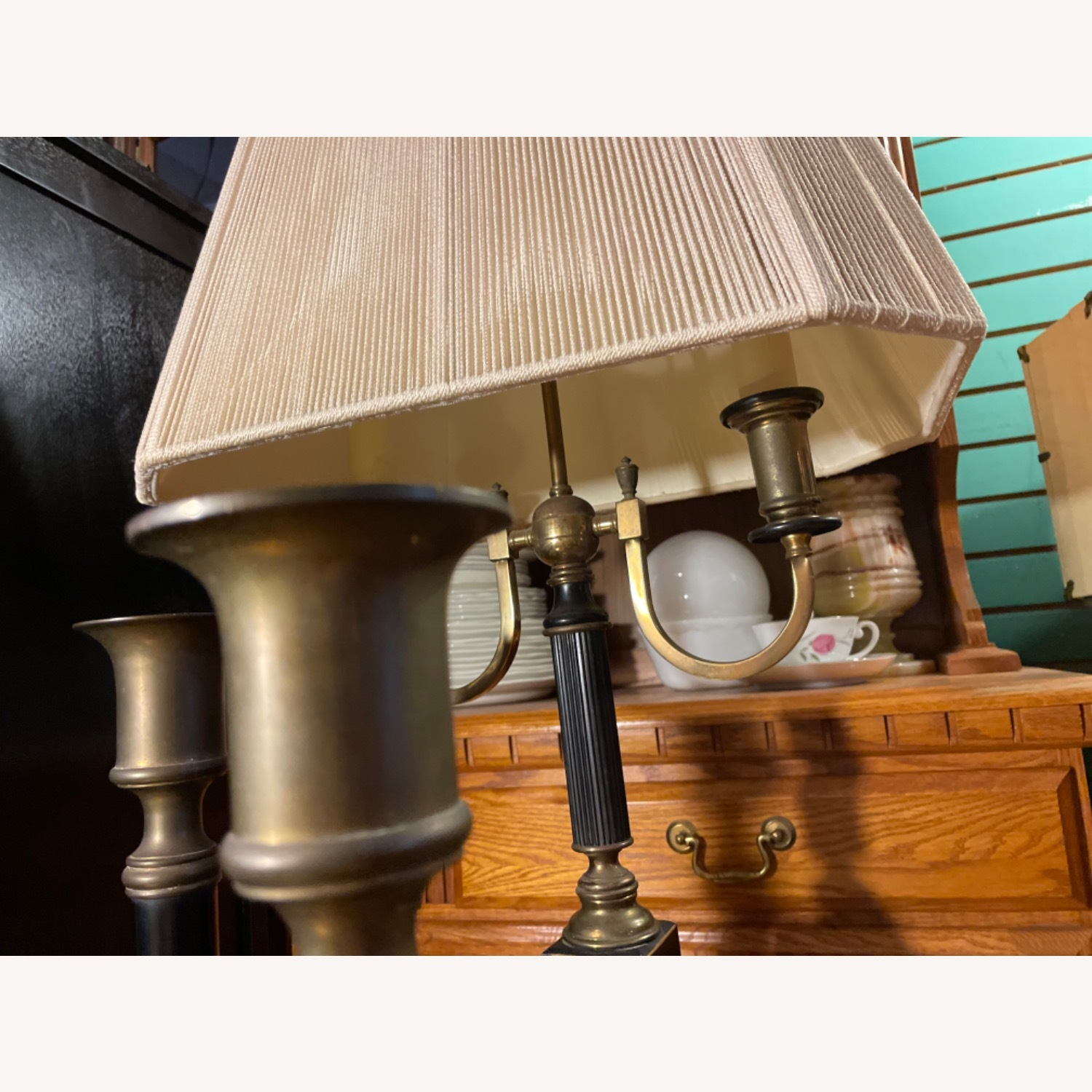 Antique 1930s Set of Brass Candle Sticks & Lamp - image-8