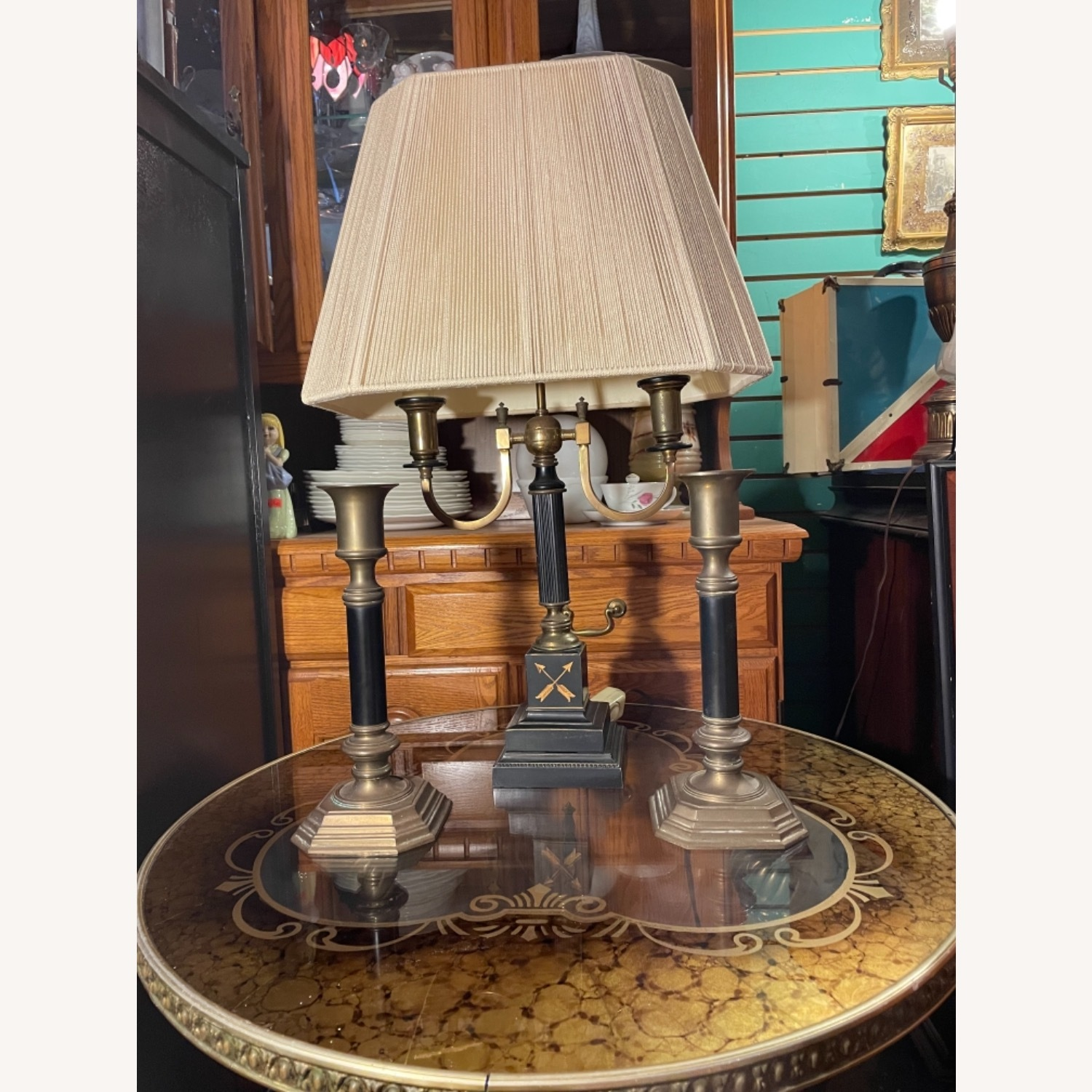 Antique 1930s Set of Brass Candle Sticks & Lamp - image-1
