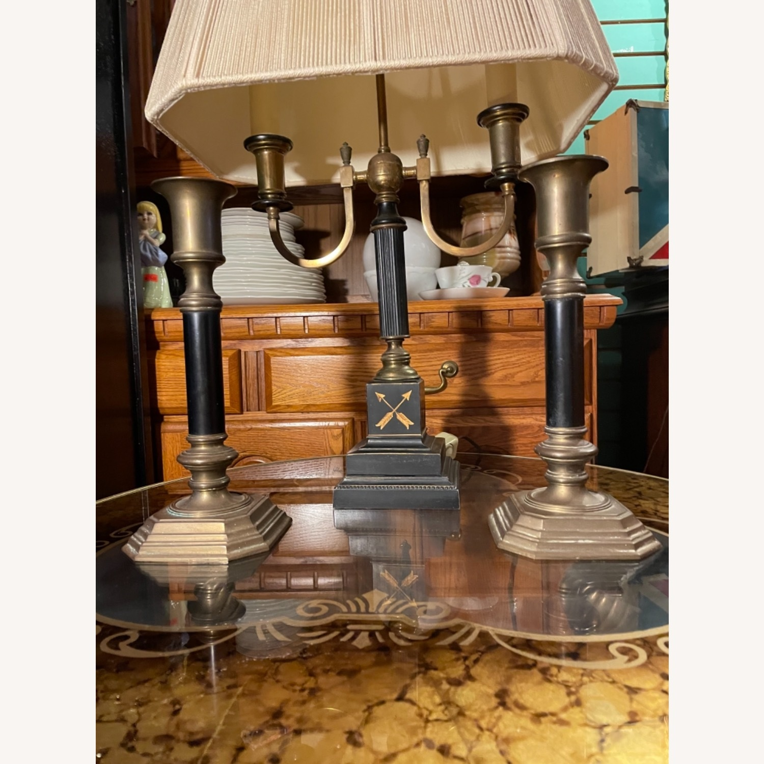 Antique 1930s Set of Brass Candle Sticks & Lamp - image-3