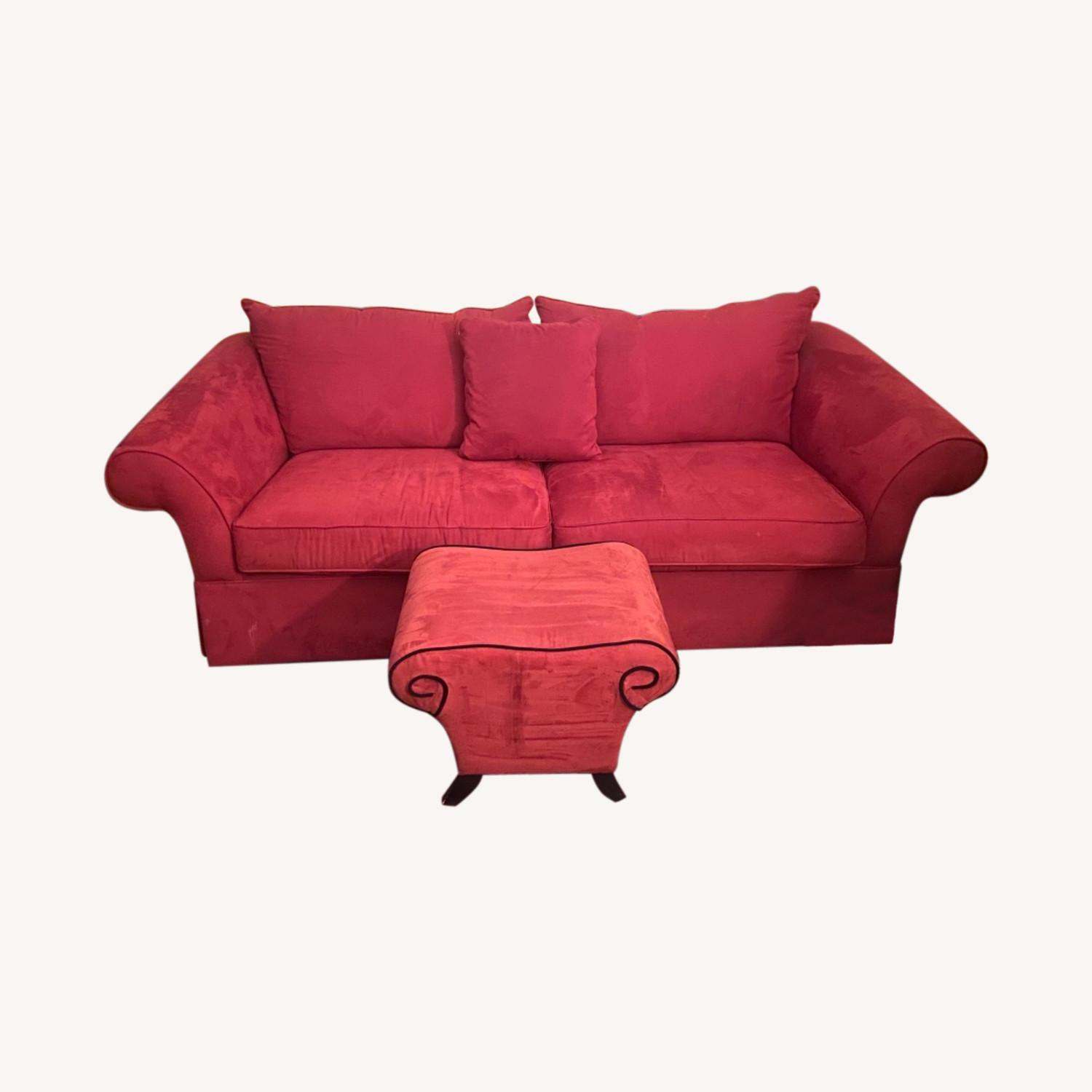 Raymour & Flanigan Red Suede Sofa with Pullout Bed - image-0