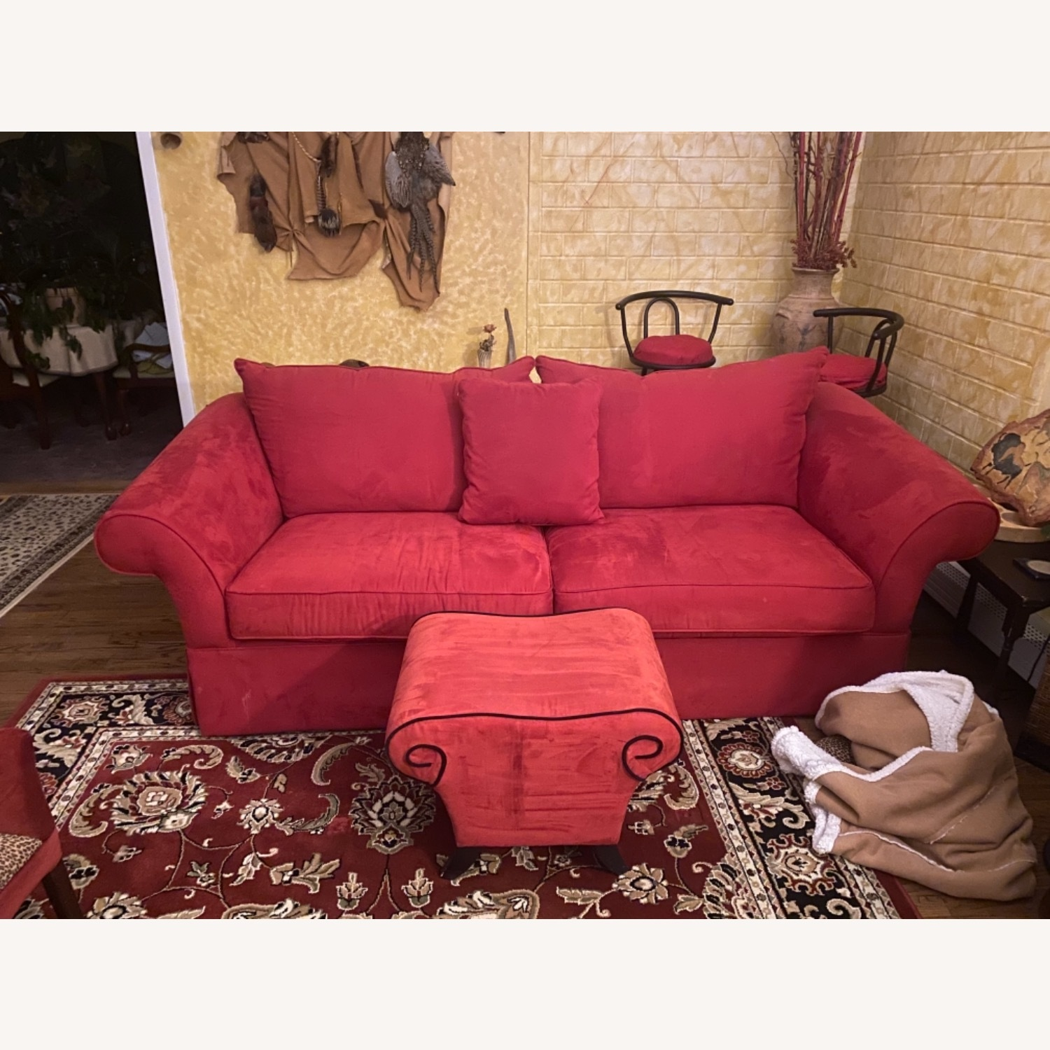 Raymour & Flanigan Red Suede Sofa with Pullout Bed - image-1