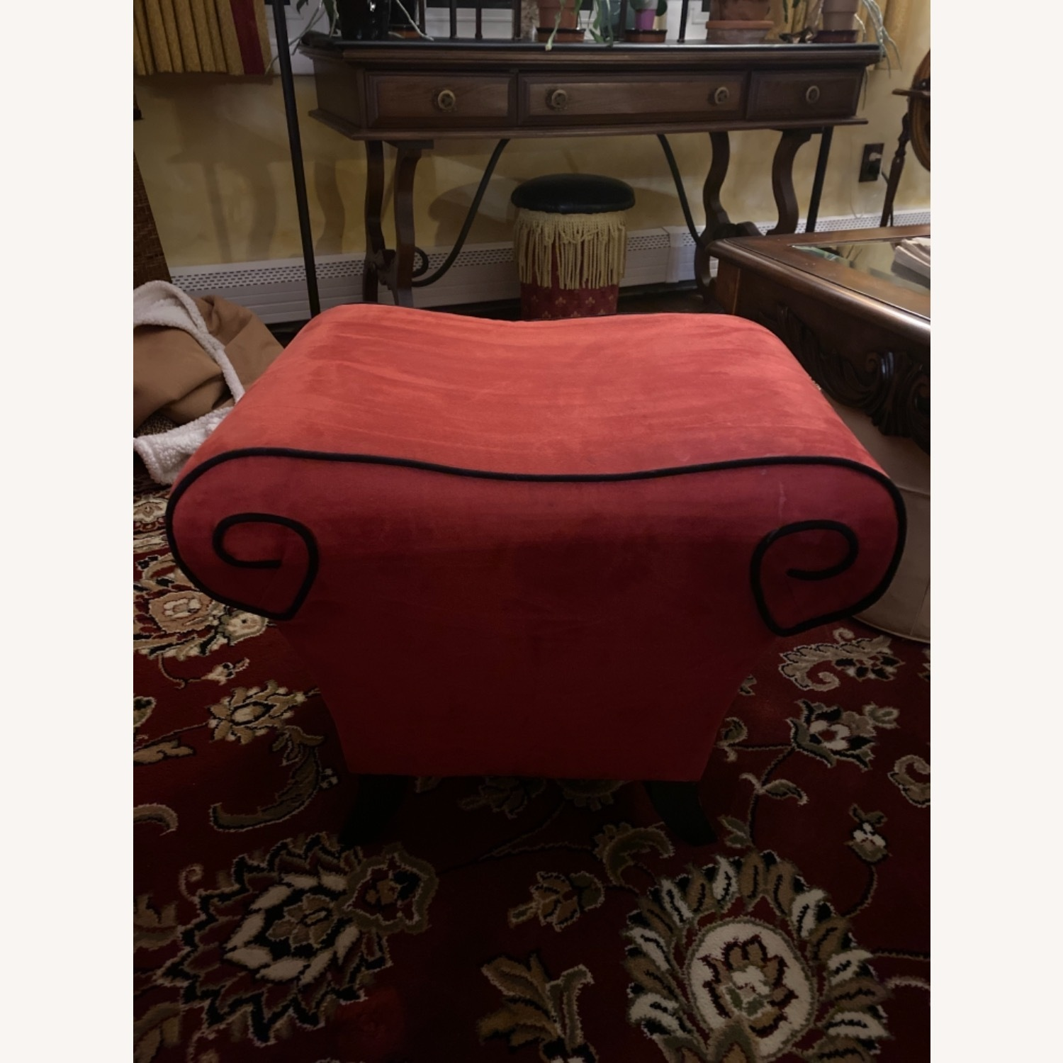 Raymour & Flanigan Red Suede Sofa with Pullout Bed - image-3