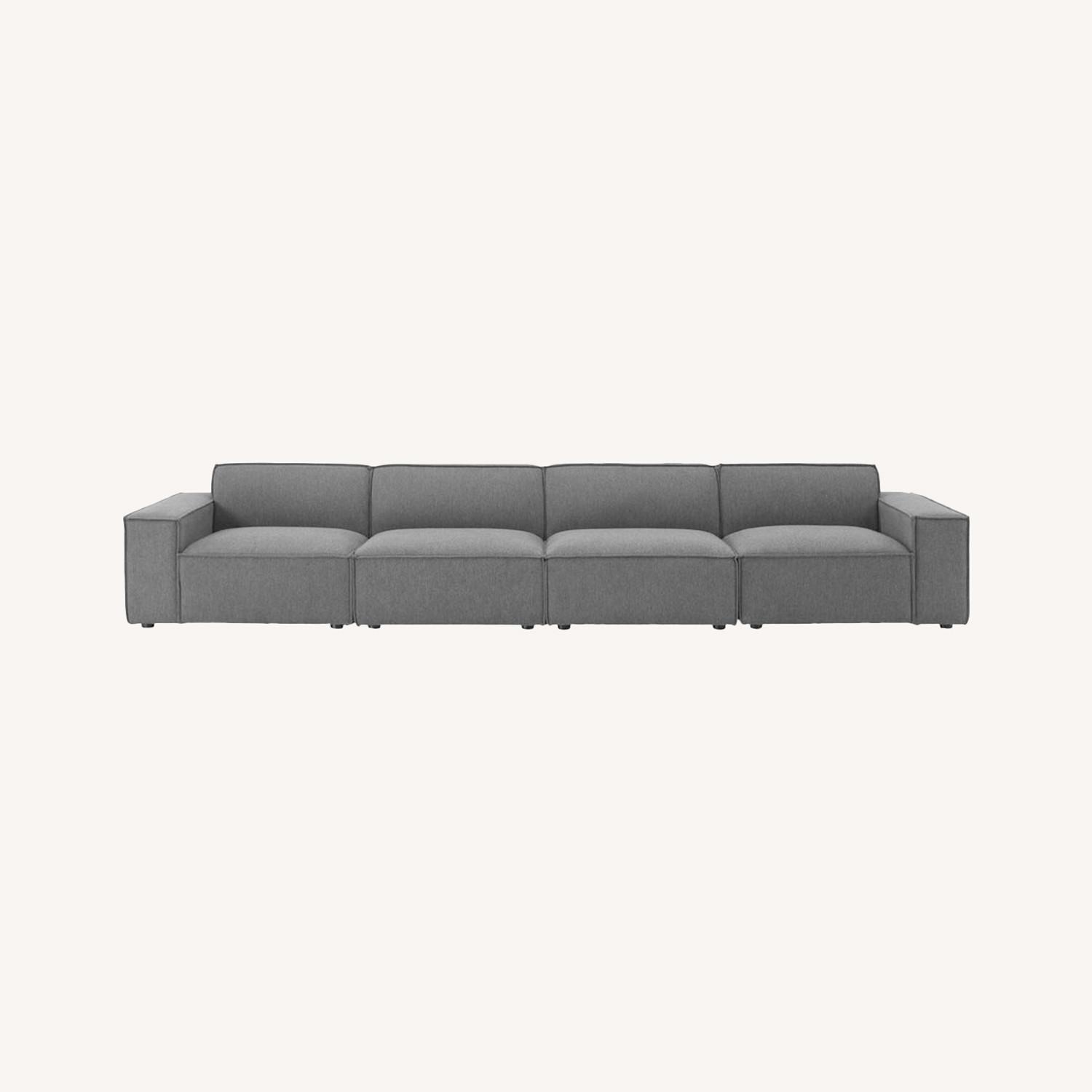 4-Piece Sectional Sofa In Charcoal Upholstery - image-11