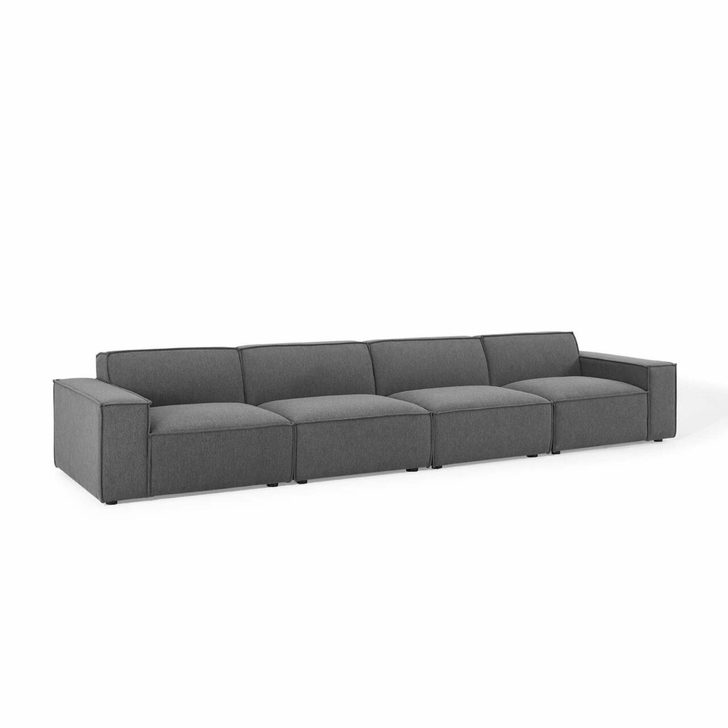 4-Piece Sectional Sofa In Charcoal Upholstery - image-0