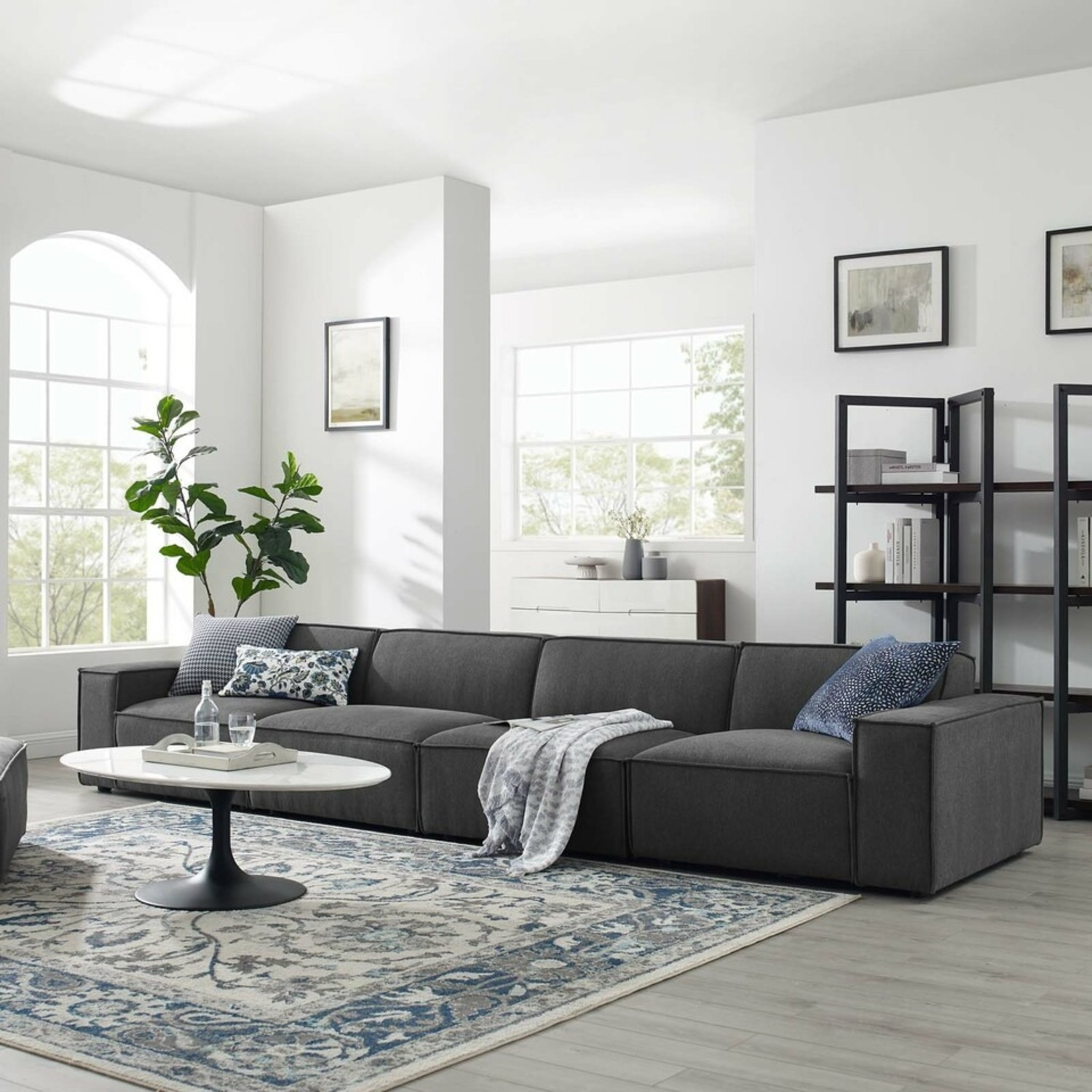 4-Piece Sectional Sofa In Charcoal Upholstery - image-10