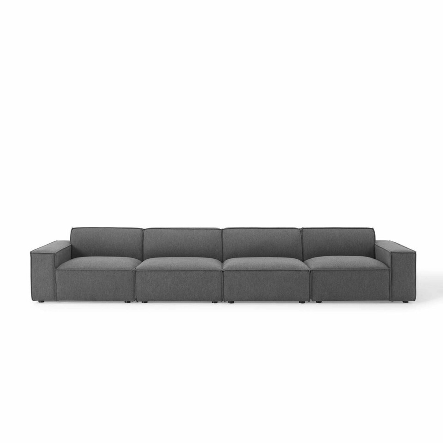 4-Piece Sectional Sofa In Charcoal Upholstery - image-1