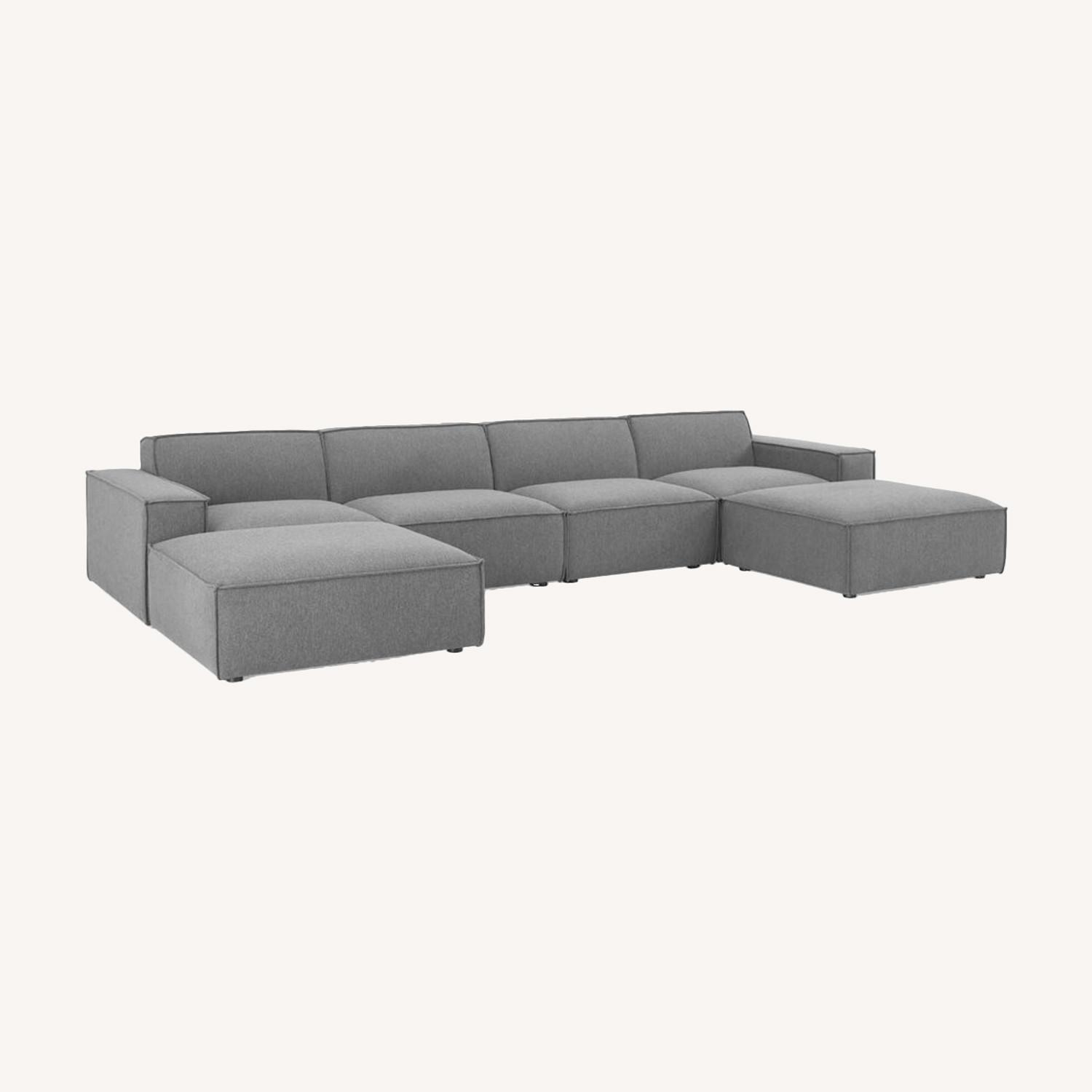 6-Piece Sectional Sofa In Charcoal Upholstery - image-11