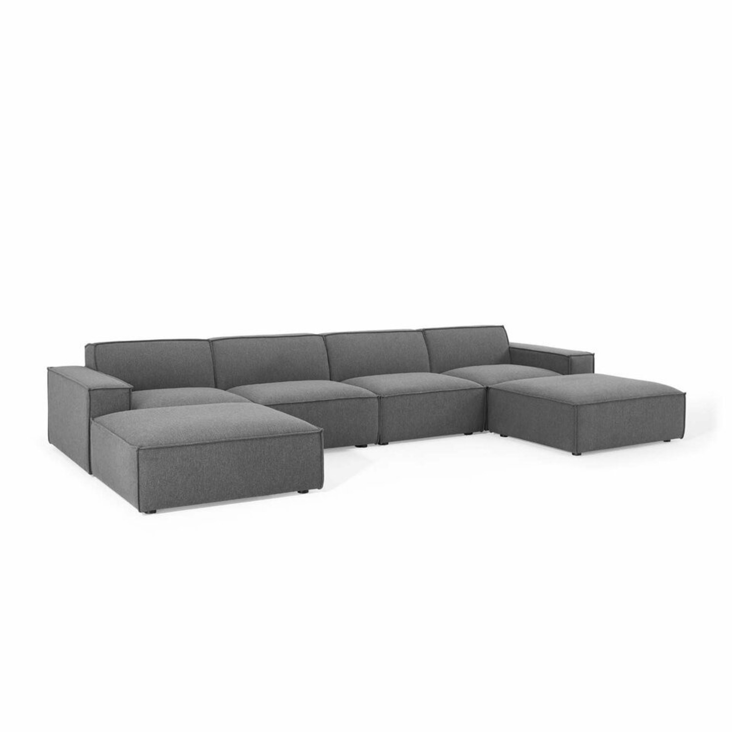 6-Piece Sectional Sofa In Charcoal Upholstery - image-0