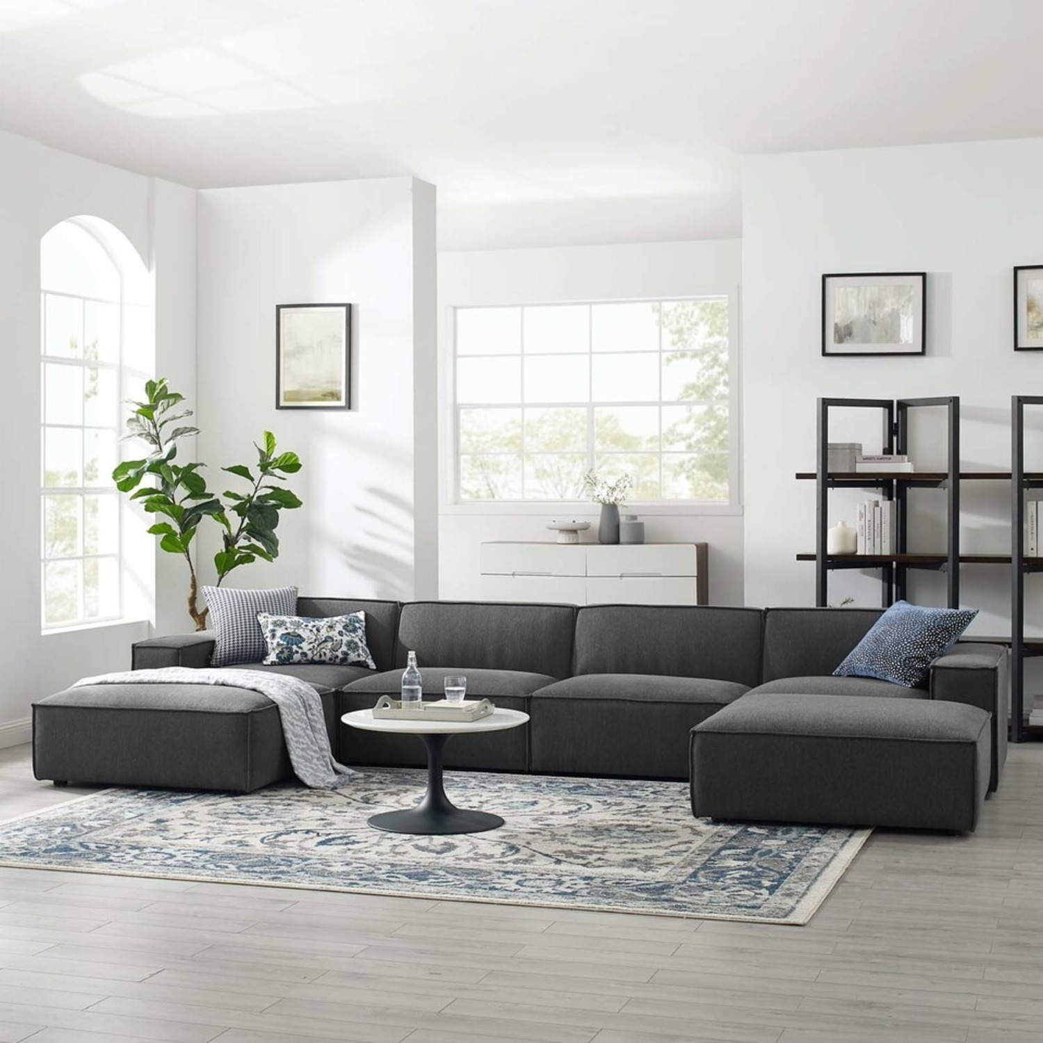 6-Piece Sectional Sofa In Charcoal Upholstery - image-10