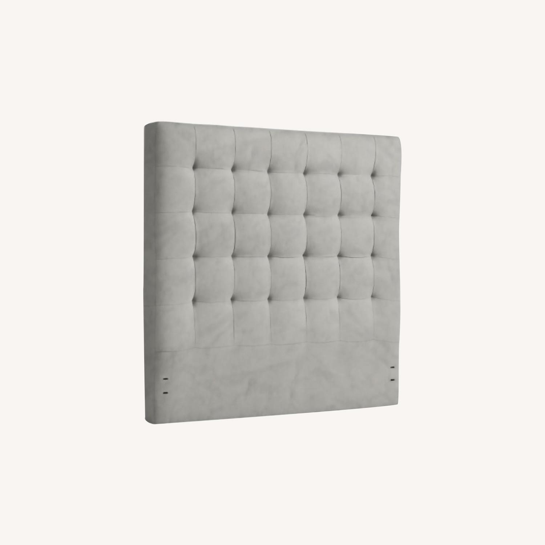 West Elm Grid Tufted Headboard + Bed Frame - image-4