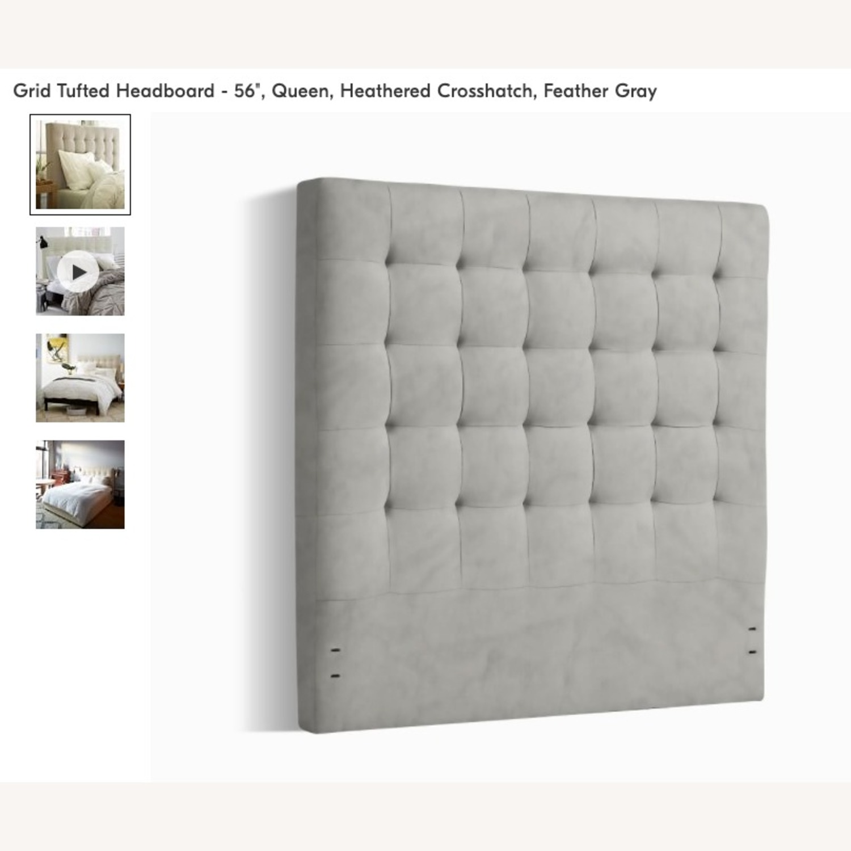 West Elm Grid Tufted Headboard + Bed Frame - image-2