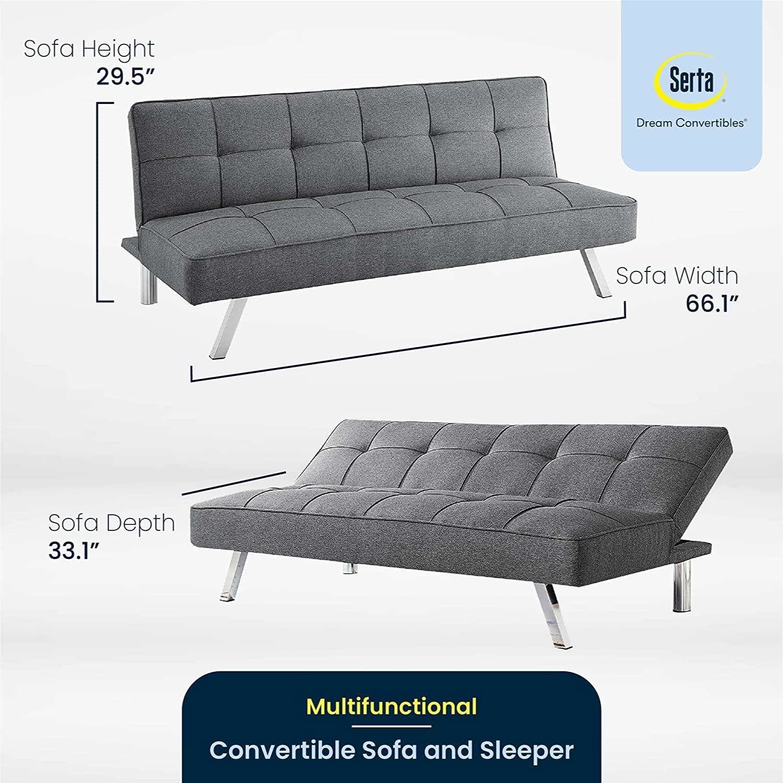 Serta Rane Collection Convertible Sofa, Charcoal - image-3