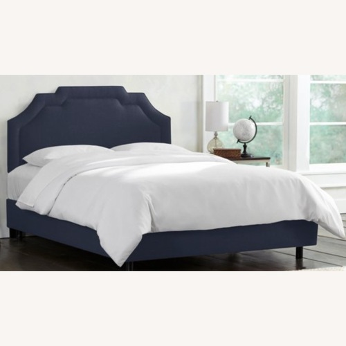 Used One Kings Lane Lola Bed Navy Linen for sale on AptDeco