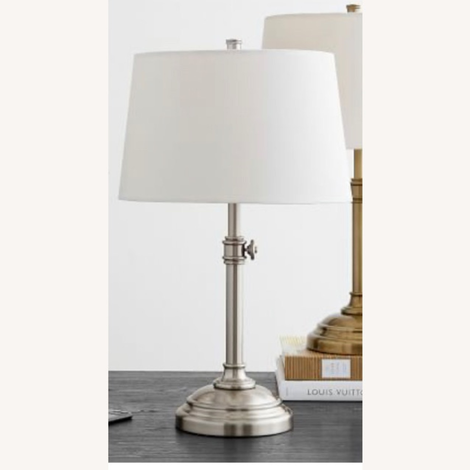 Pottery Barn Chelsea Table Lamps 25 Nickel - image-3