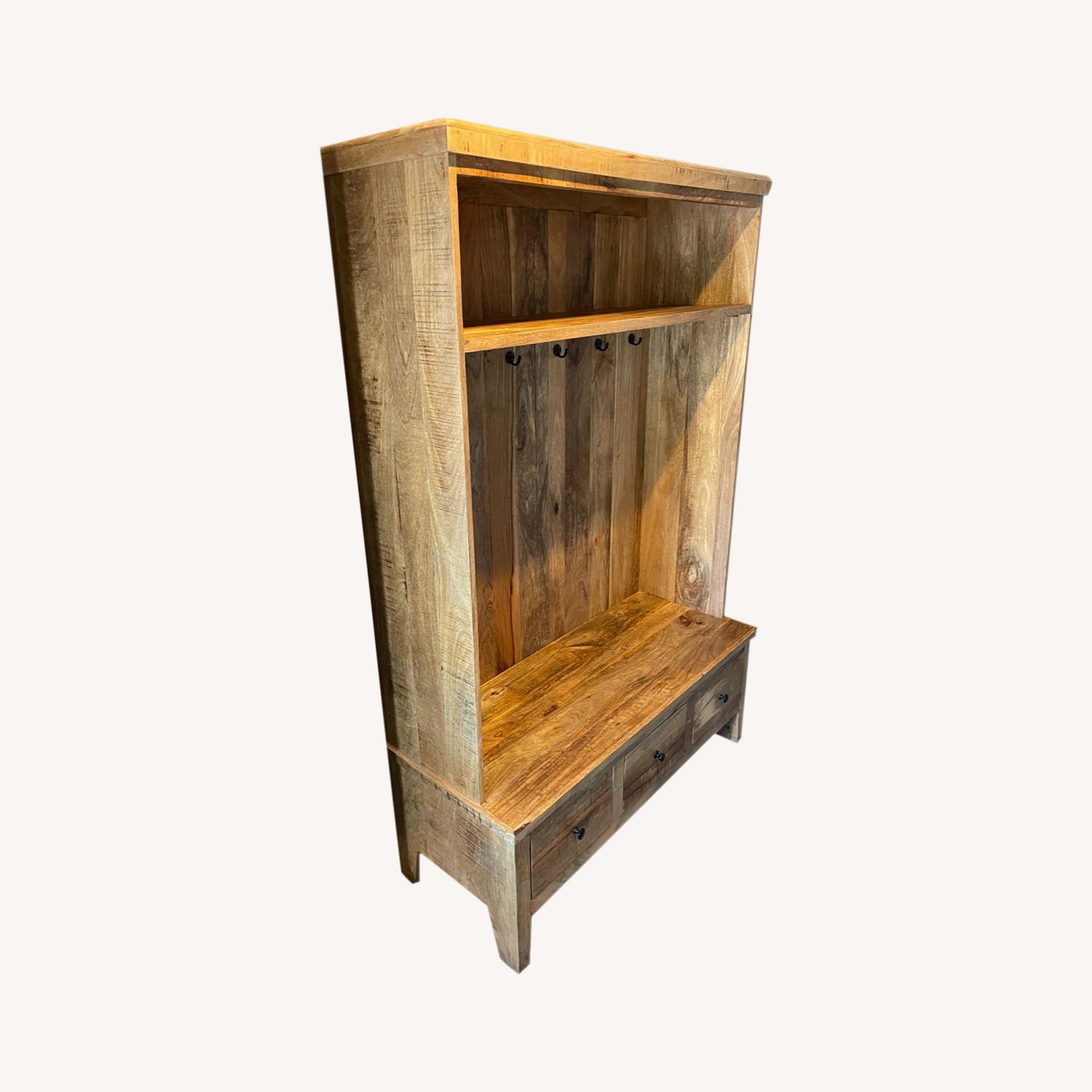 Holbrook Natural Reclaimed Wood Hall Tree Entryway - image-0