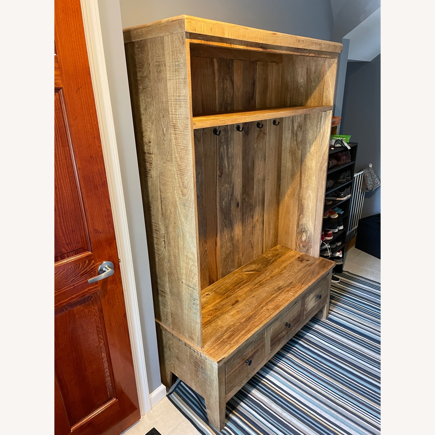 Holbrook Natural Reclaimed Wood Hall Tree Entryway - image-1