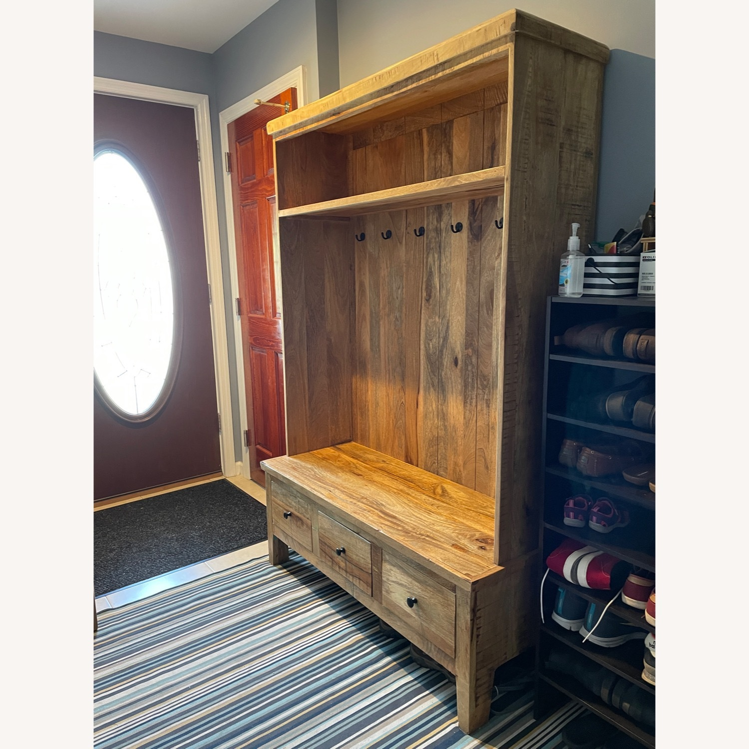 Holbrook Natural Reclaimed Wood Hall Tree Entryway - image-6